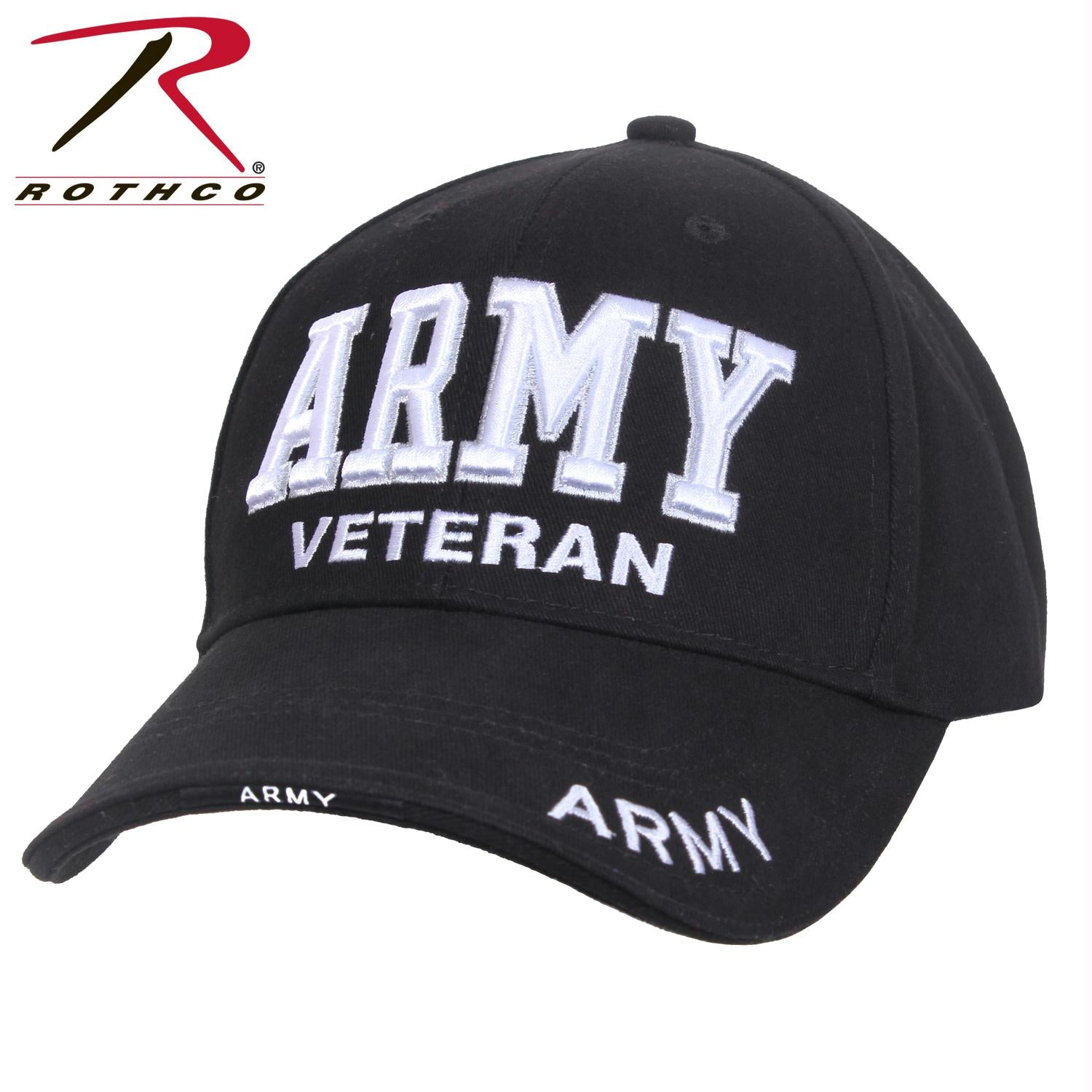 Rothco Deluxe Army Veteran Low Profile Cap - Black / White / One Size