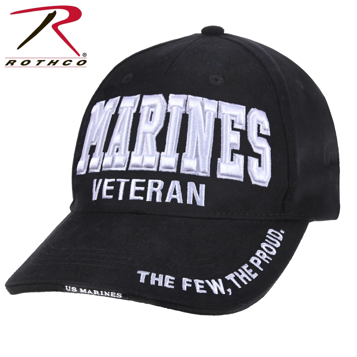 Rothco Deluxe Marines Veteran-Low Profile Cap - Black / White / One Size