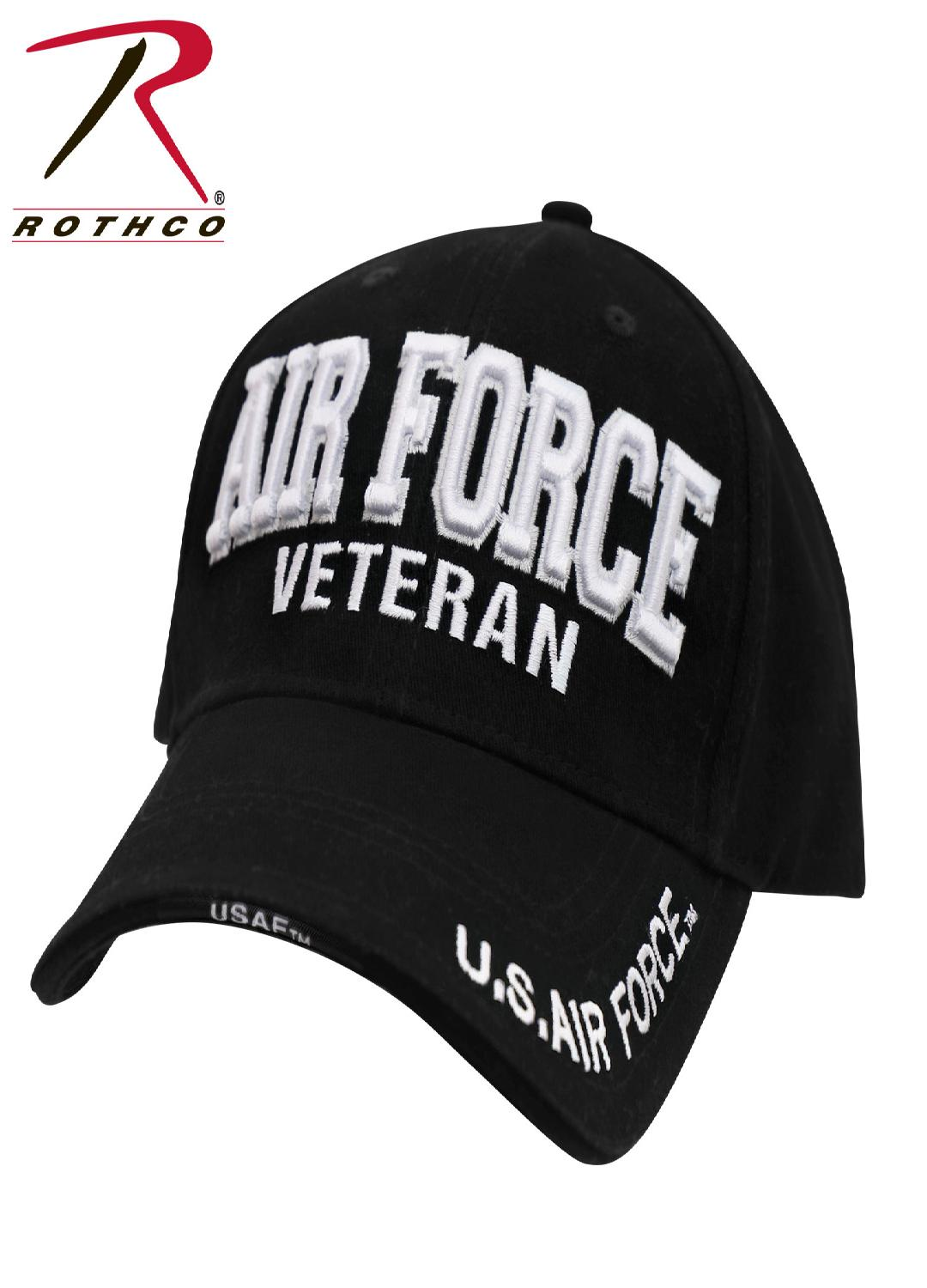 Rothco Deluxe Low Profile Military Branch Veteran Cap - Black / One Size