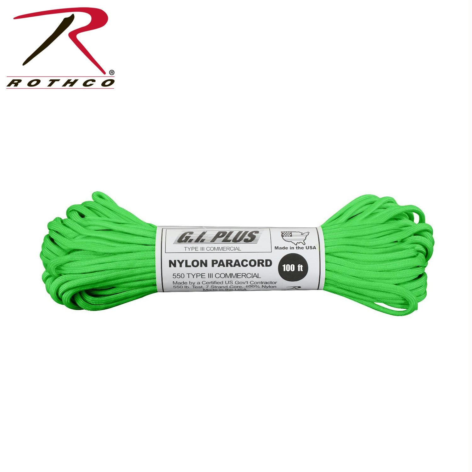 Rothco Nylon Paracord Type III 550 LB 100FT - Safety Green