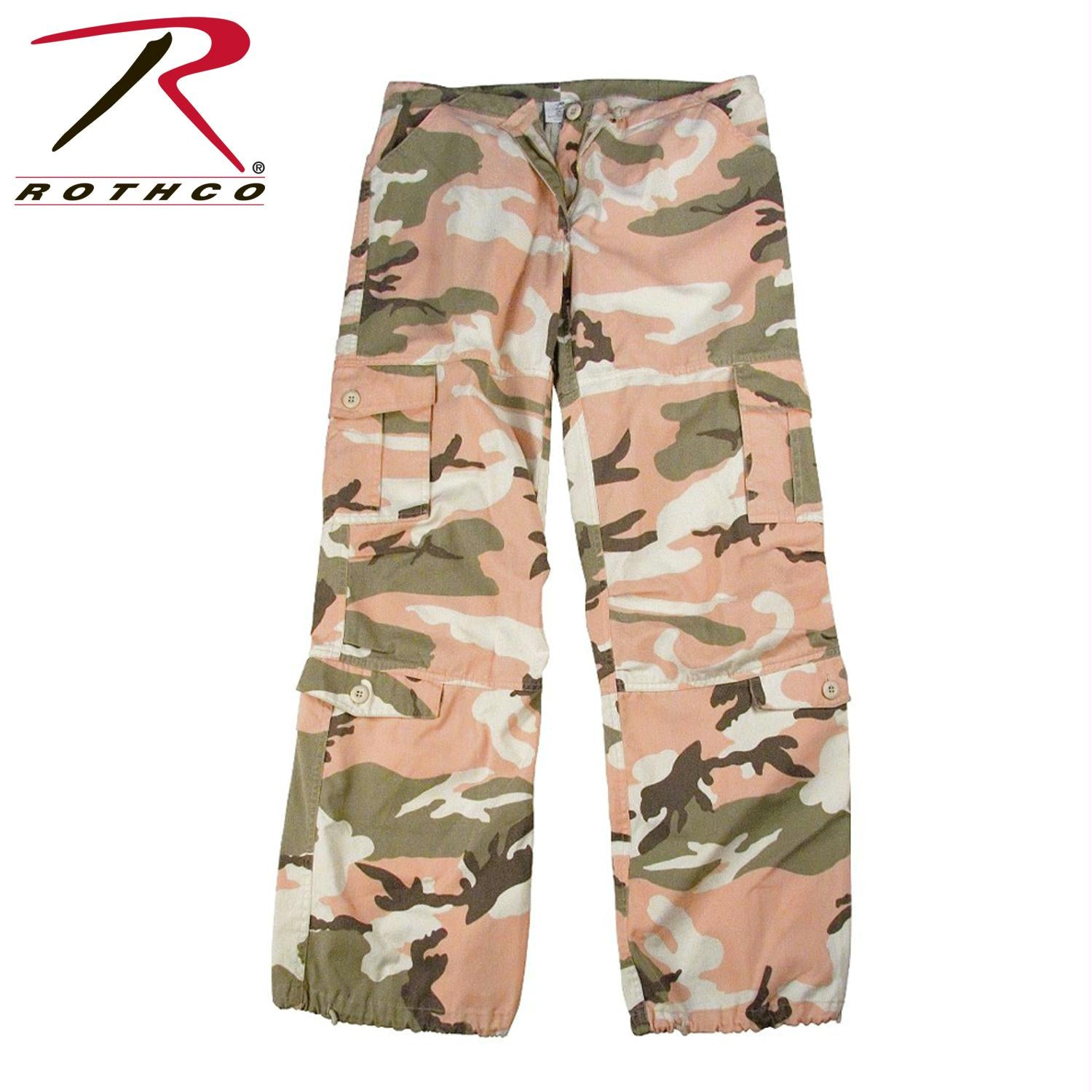 Rothco Womens Camo Vintage Paratrooper Fatigue Pants - Subdued Pink Camo / XL