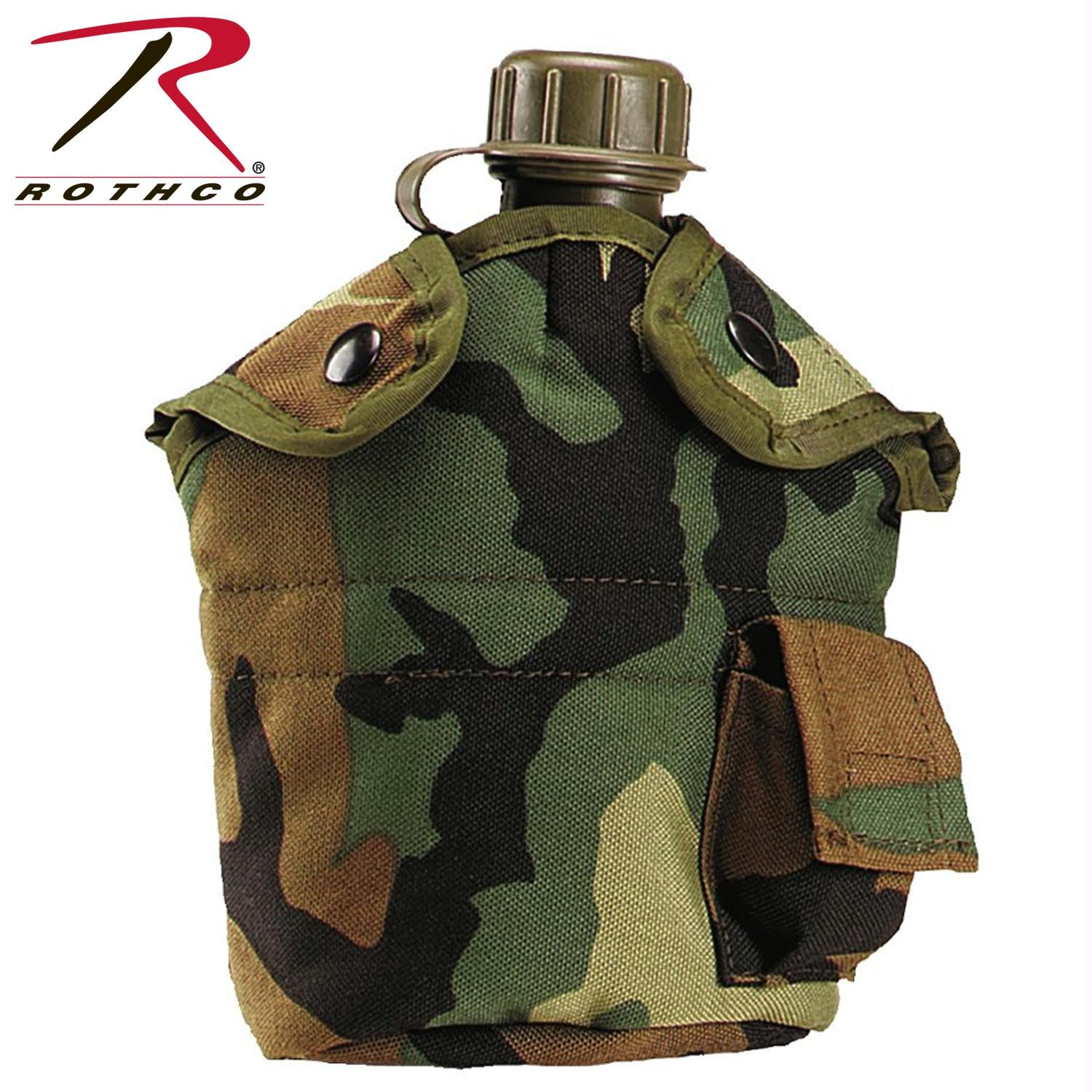 Rothco G.I. Type Enhanced Nylon 1qt. Canteen Cover - Woodland Camo