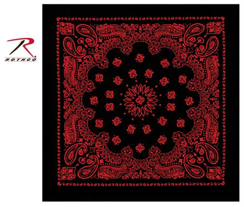 Rothco Trainmen Bandana - Black / Red