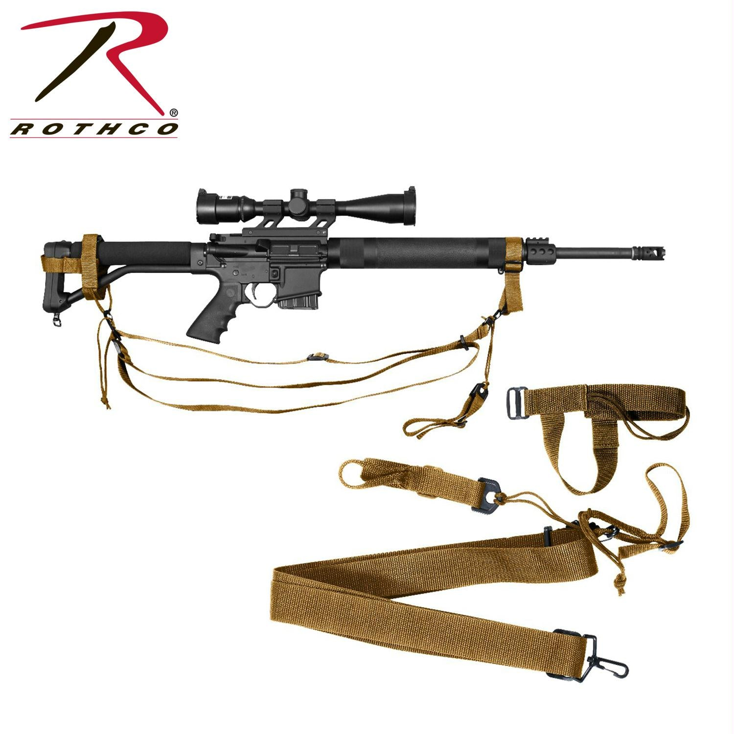 Rothco Military 3-point Rifle Sling - Coyote Brown