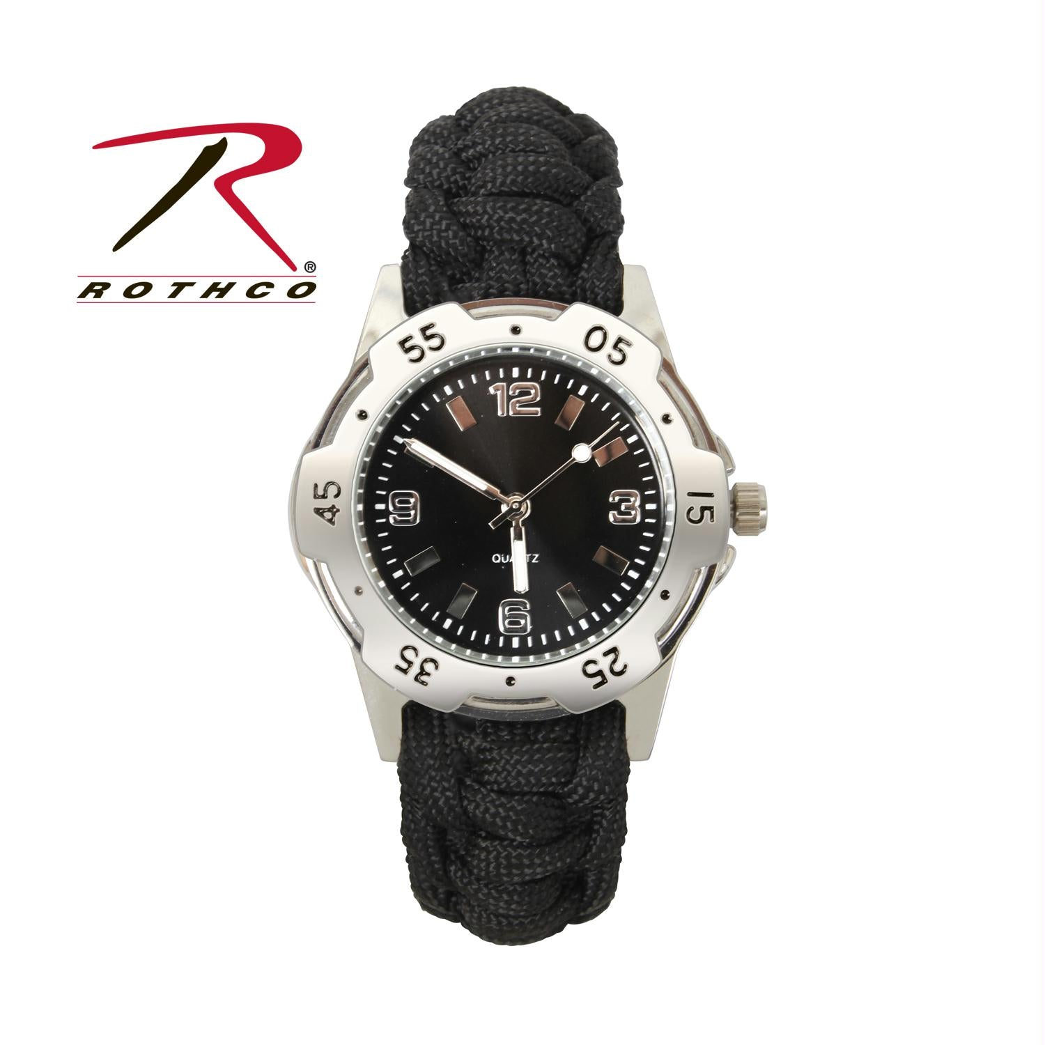 Rothco Paracord Bracelet Watch - Black / 9 Inches