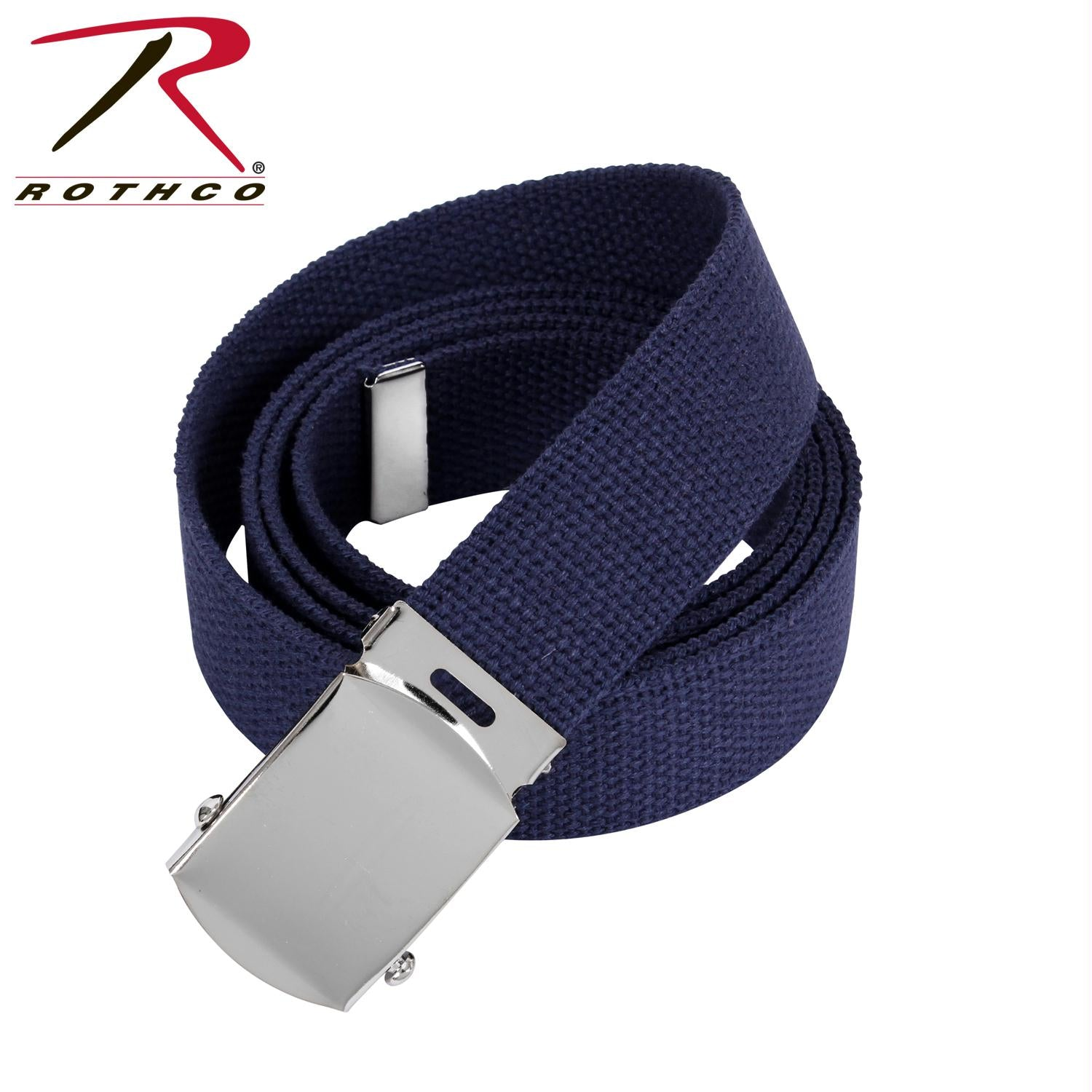 Rothco 64 Inch Military Color Web Belts - Chrome / Navy Blue