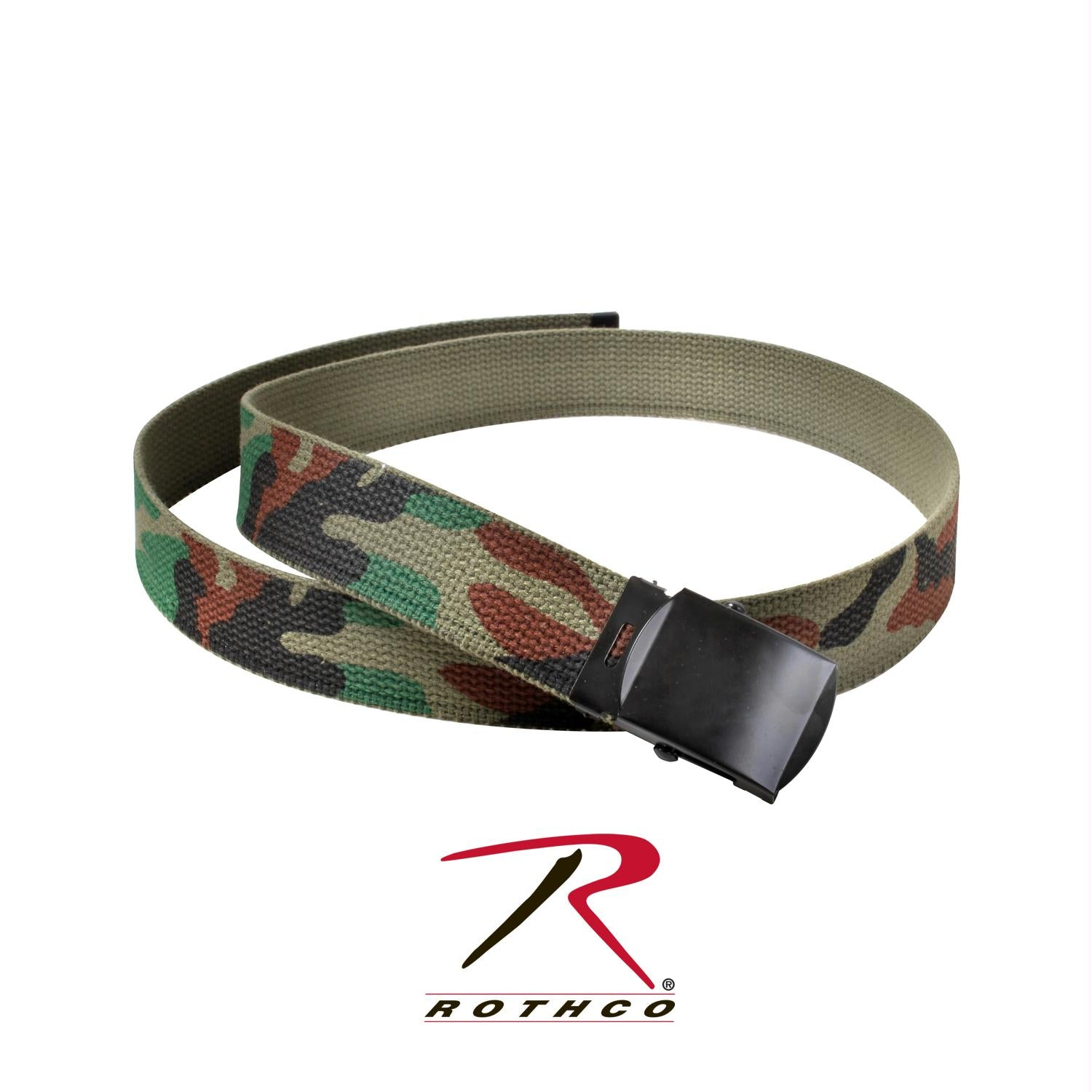 Rothco Camo Reversible Web Belt - Woodland Camo / Olive Drab / 64 Inches