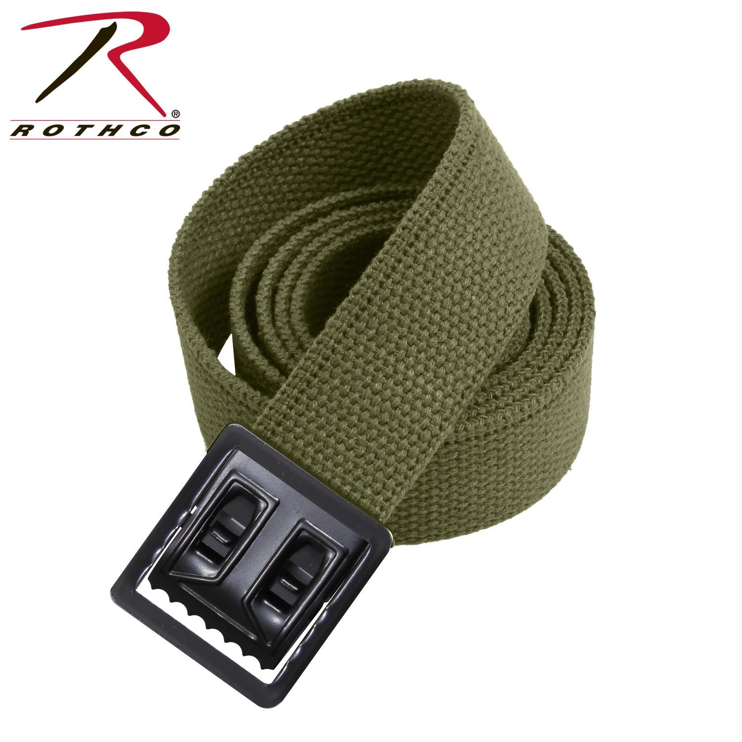 Rothco Military Web Belts w/ Open Face Buckle - Black / Olive Drab / 44 Inches