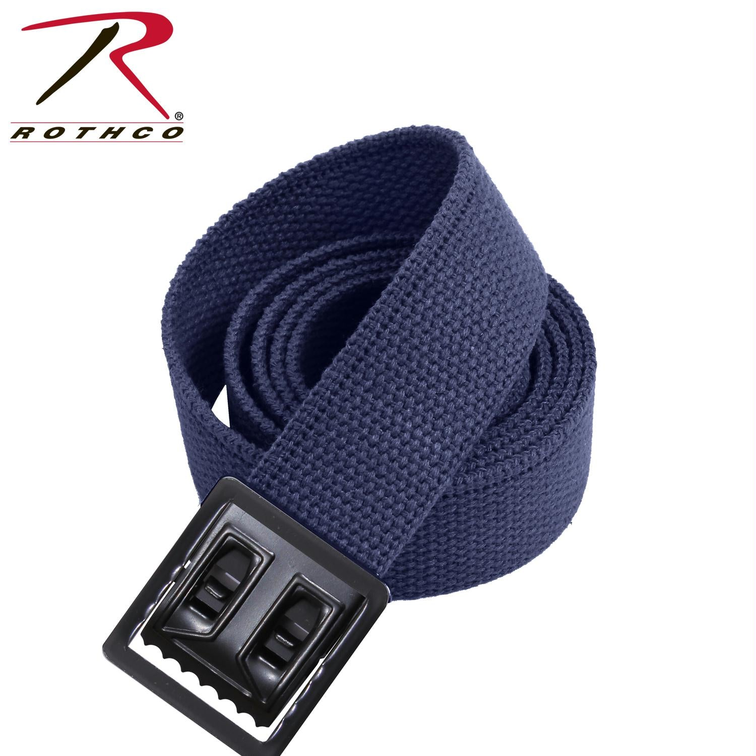 Rothco Military Web Belts w/ Open Face Buckle - Black / Navy Blue / 44 Inches