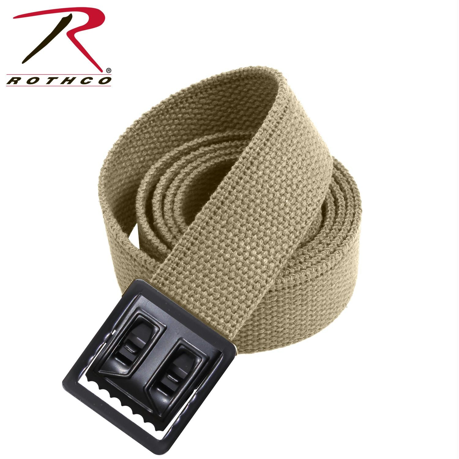 Rothco Military Web Belts w/ Open Face Buckle - Black / Khaki / 44 Inches