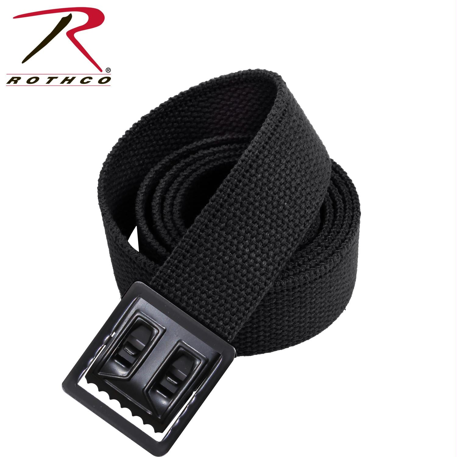 Rothco Military Web Belts w/ Open Face Buckle - Black / Black / 54 Inches