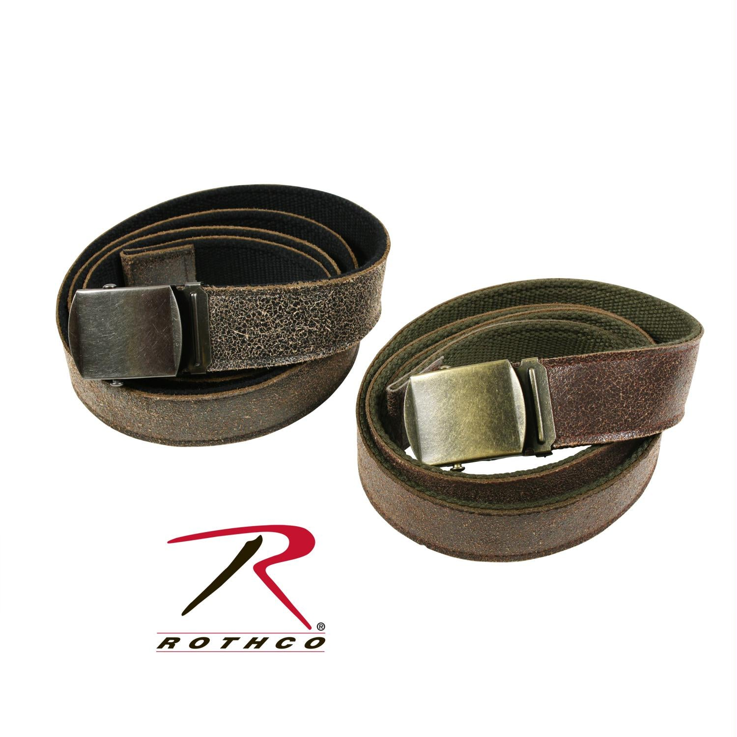 Rothco Reversible Vintage Leather/Poly Web Belt - Black Leather / Black Poly / 54 Inches