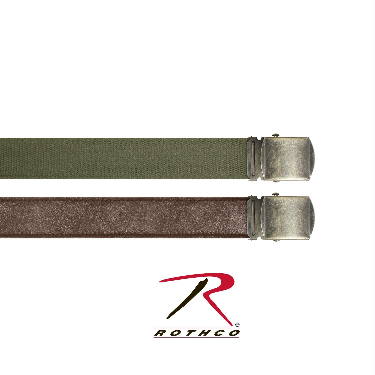 Rothco Reversible Vintage Leather/Poly Web Belt - Brown Leather / OD Poly / 54 Inches