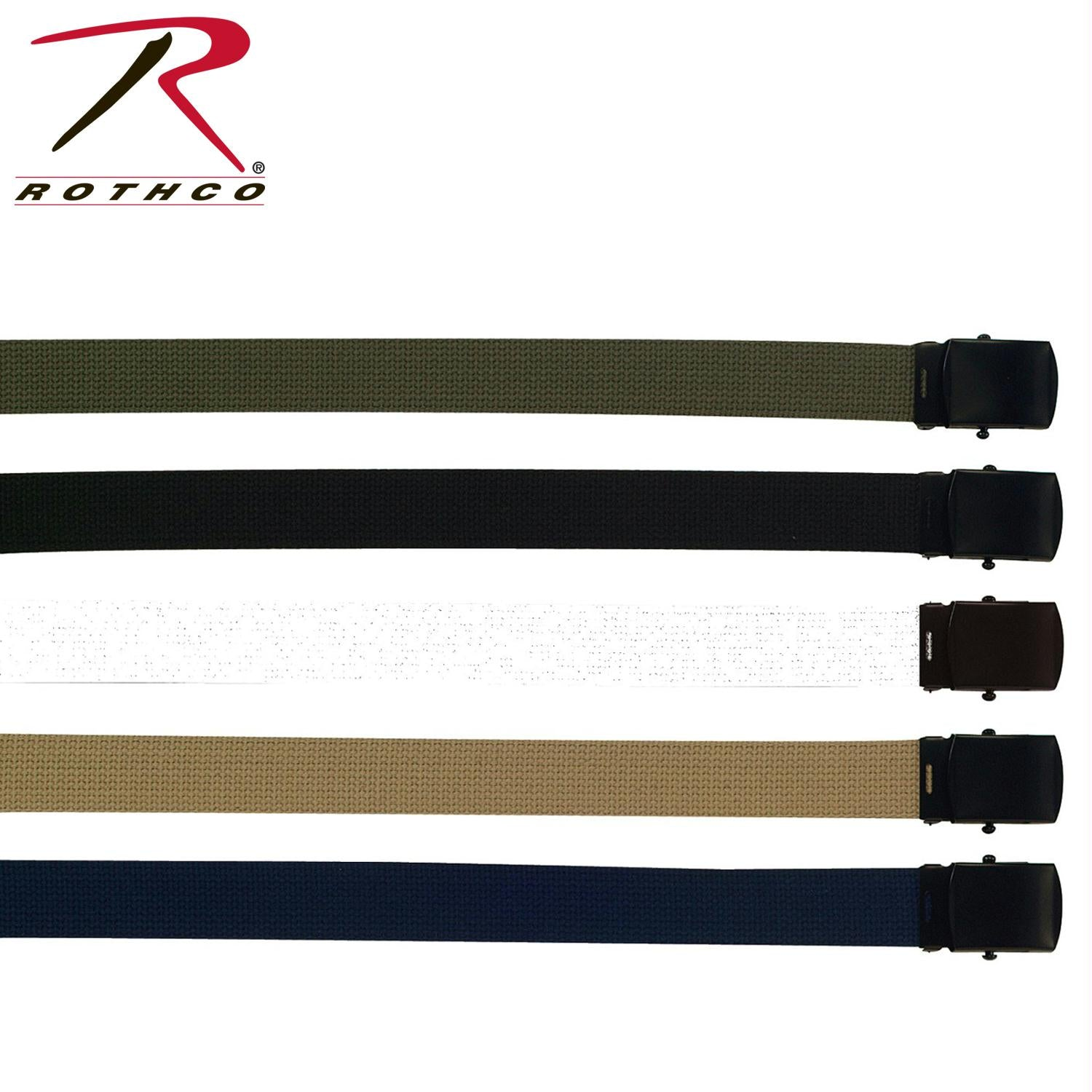 Rothco Military Web Belts w/ Black Buckle - Black / 64 Inches