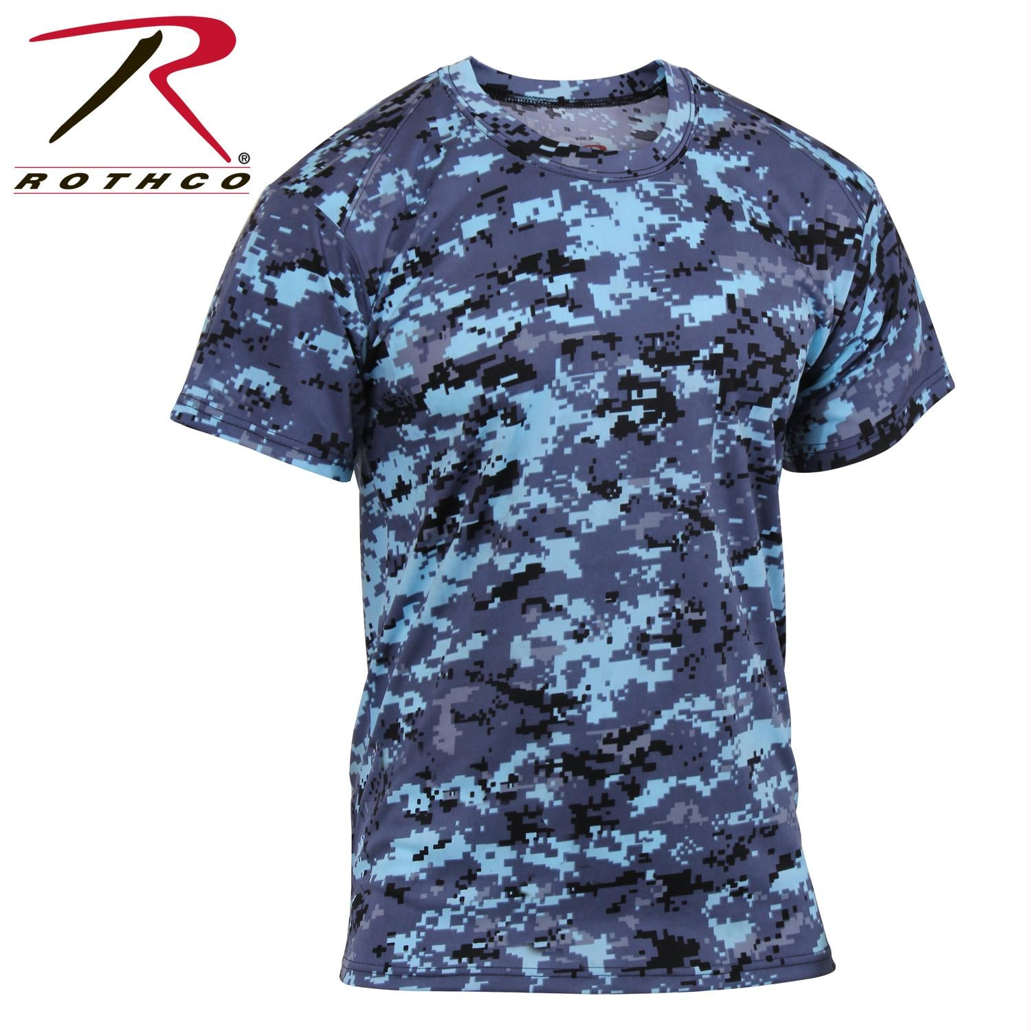 Rothco Polyester Performance T-Shirt - Sky Blue Digital Camo / L