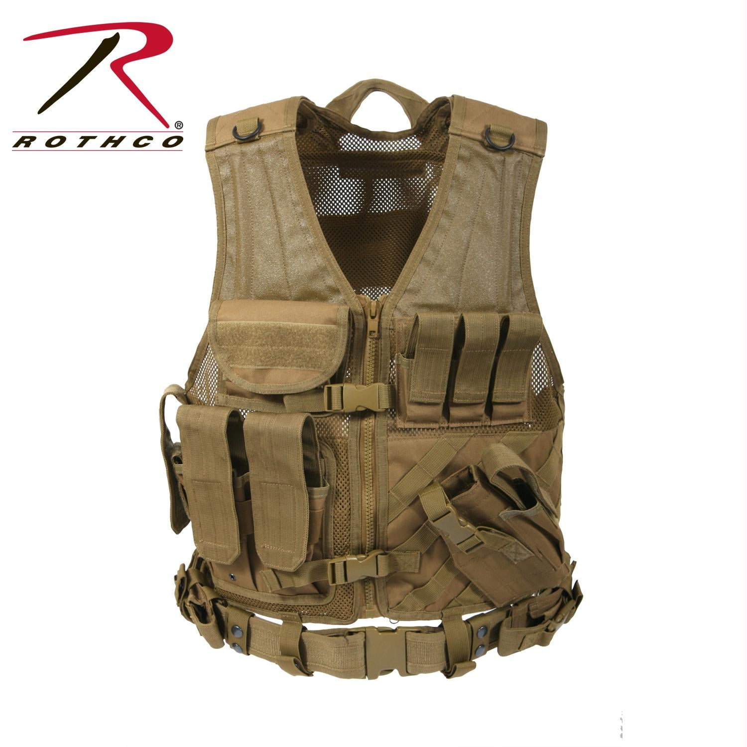 Rothco Cross Draw MOLLE Tactical Vest - Coyote Brown / Oversized
