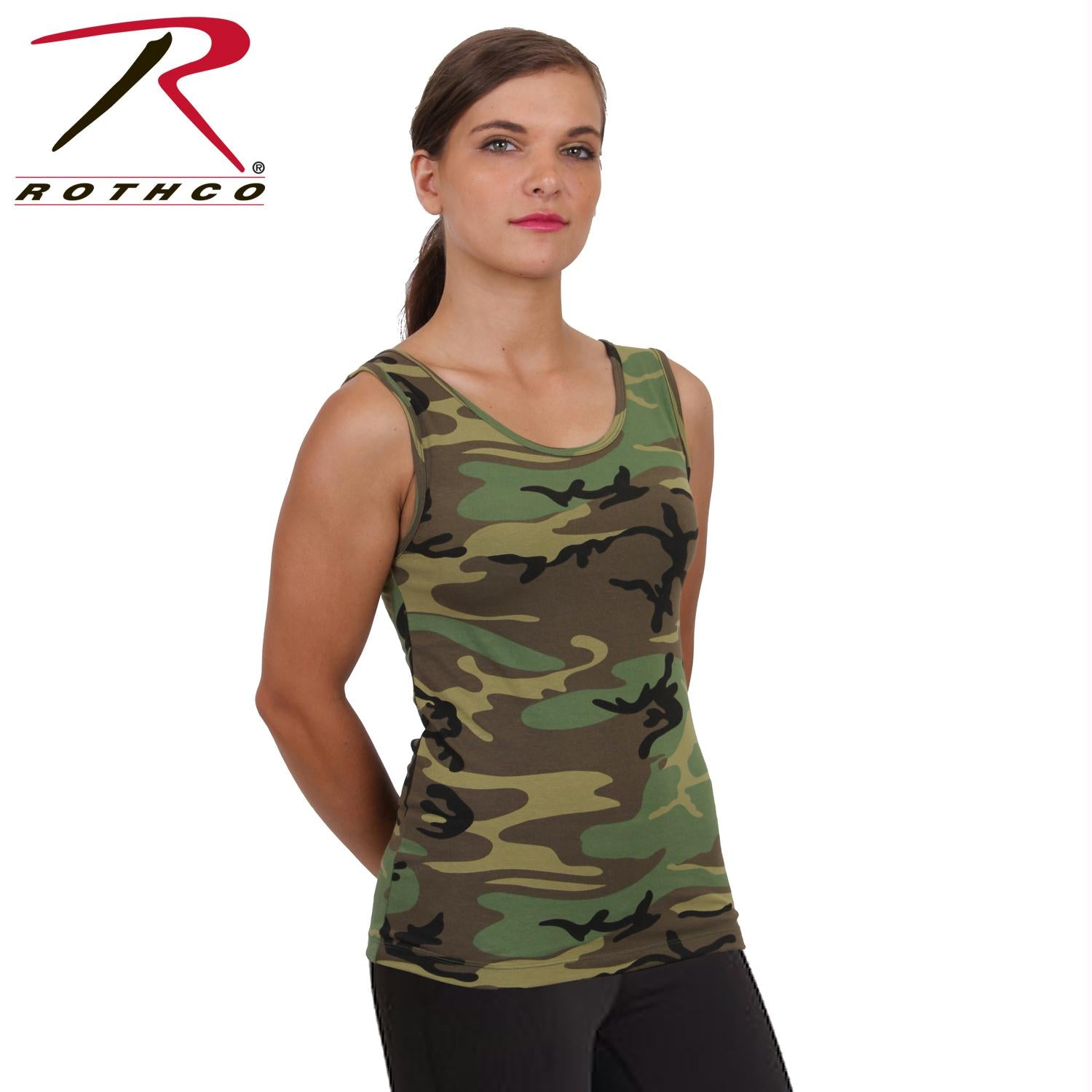 Rothco Womens Camo Stretch Tank Top - Woodland Camo / L