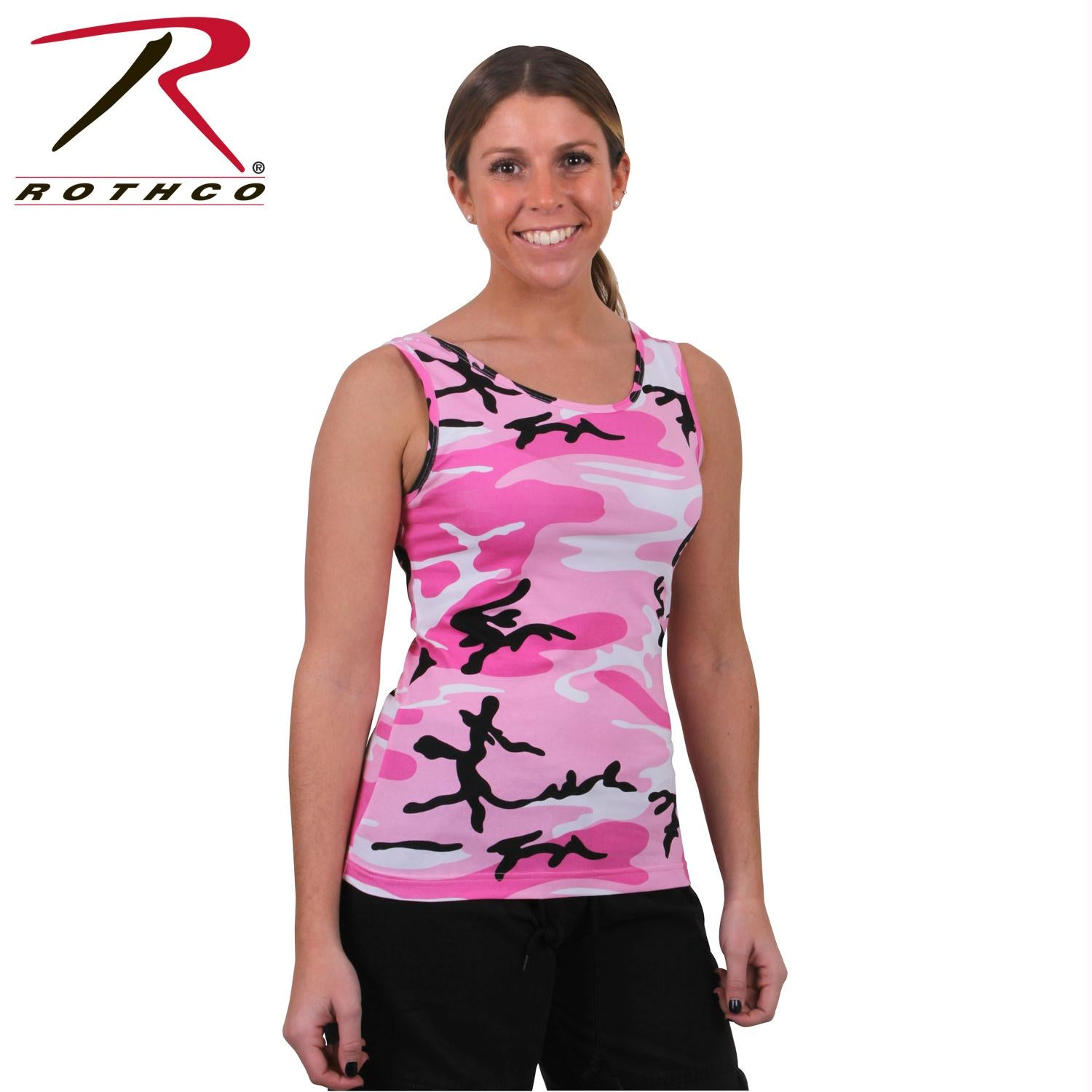 Rothco Womens Camo Stretch Tank Top - Pink Camo / L