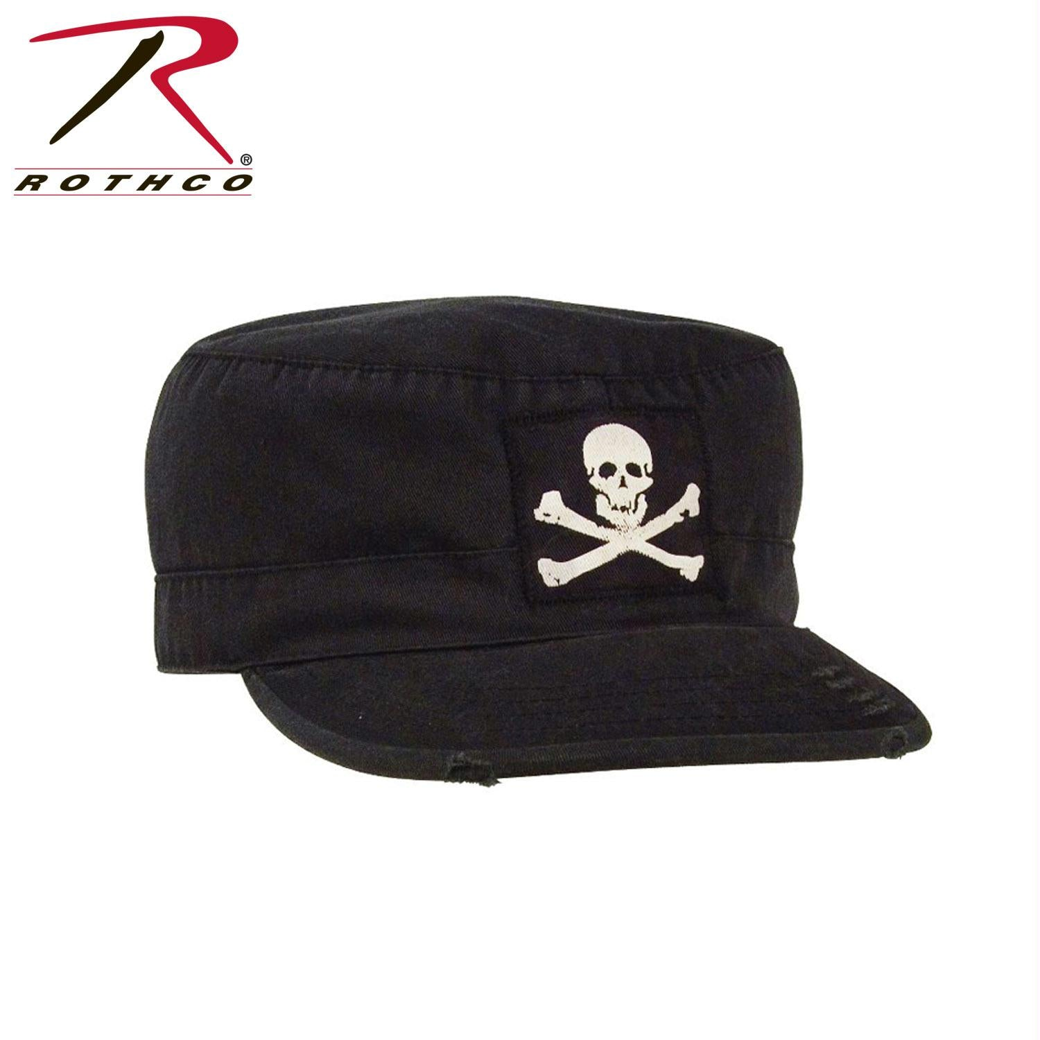 Rothco Vintage Military Fatigue Cap With Jolly Roger - L