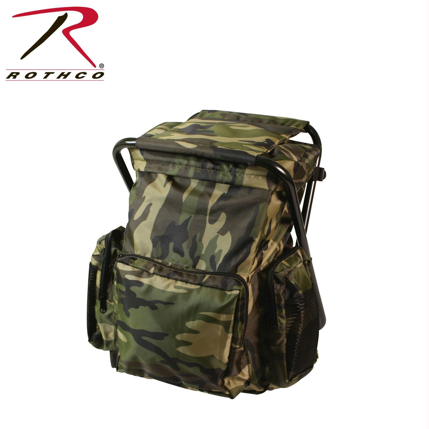 Rothco Backpack and Stool Combo Pack - Woodland Camo
