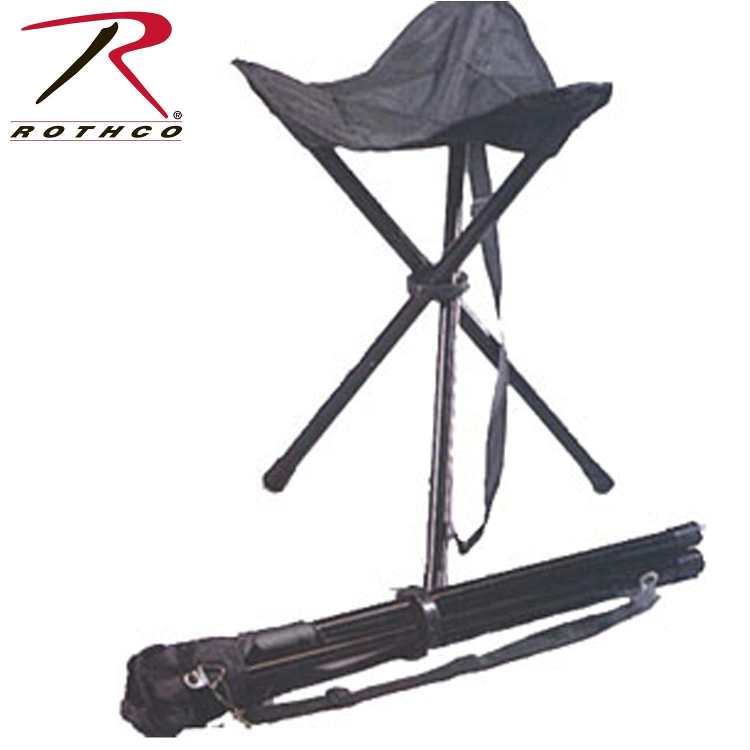 Rothco Collapsible Stool With Carry Strap - Black