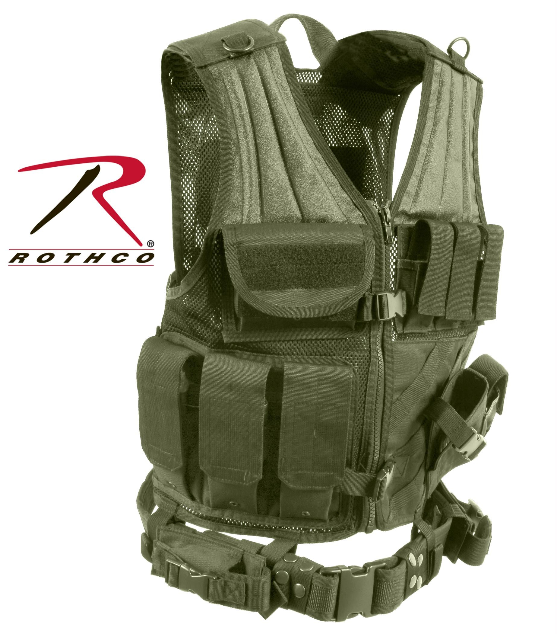 Rothco Cross Draw MOLLE Tactical Vest - Olive Drab / Regular