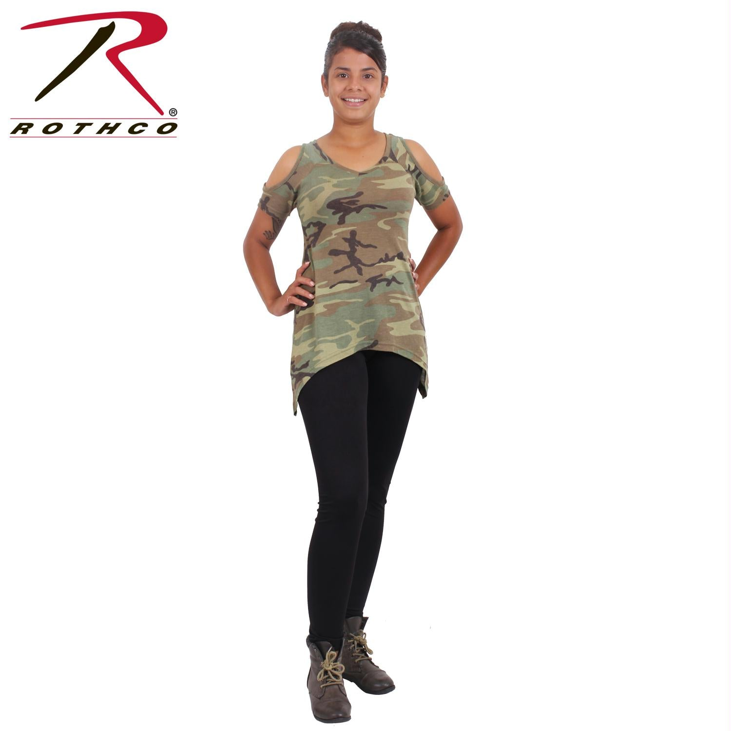 Rothco Womens Camo Cold Shoulder Top