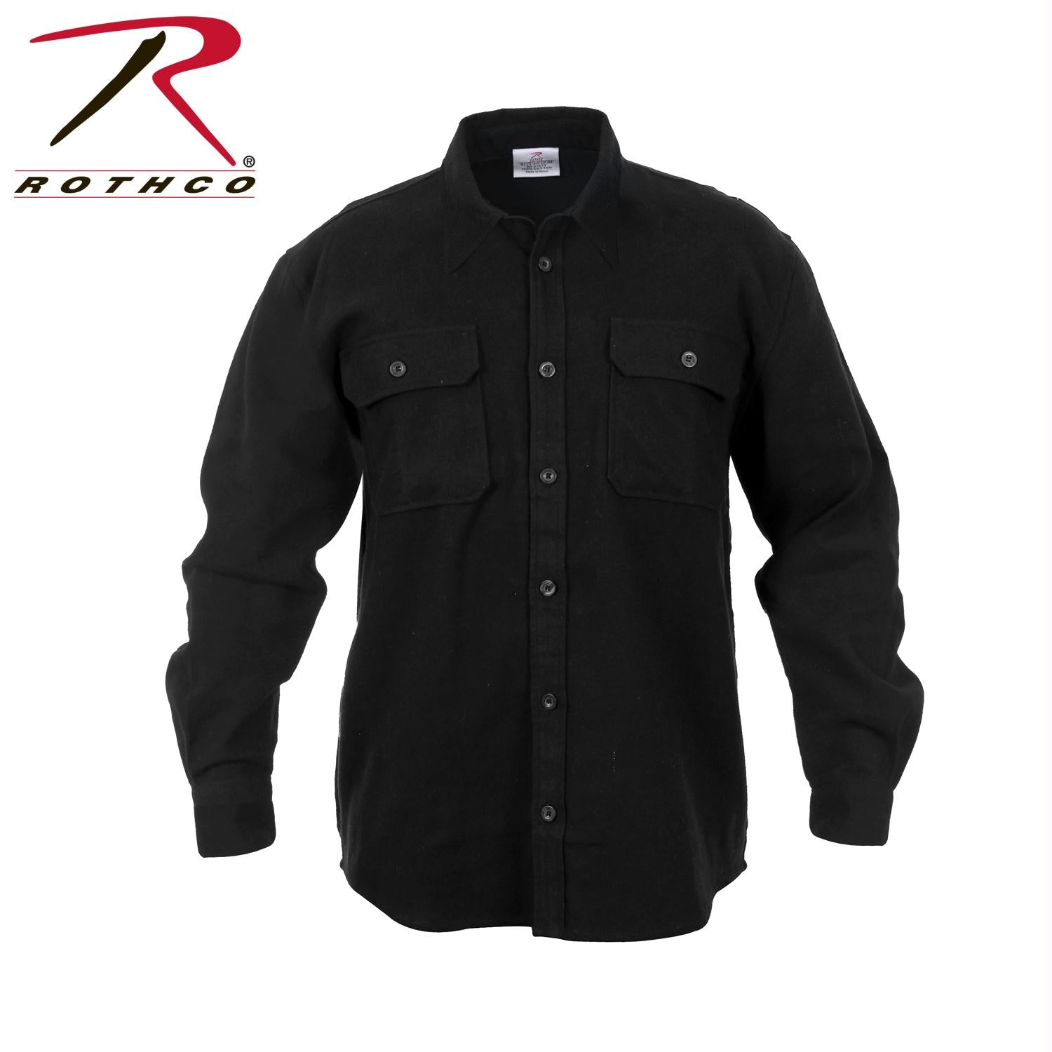 Rothco Heavy Weight Solid Flannel Shirt - Black / 2XL