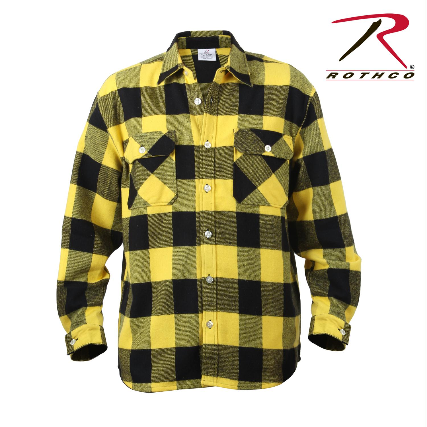 Rothco Extra Heavyweight Buffalo Plaid Flannel Shirts - Yellow Plaid / S