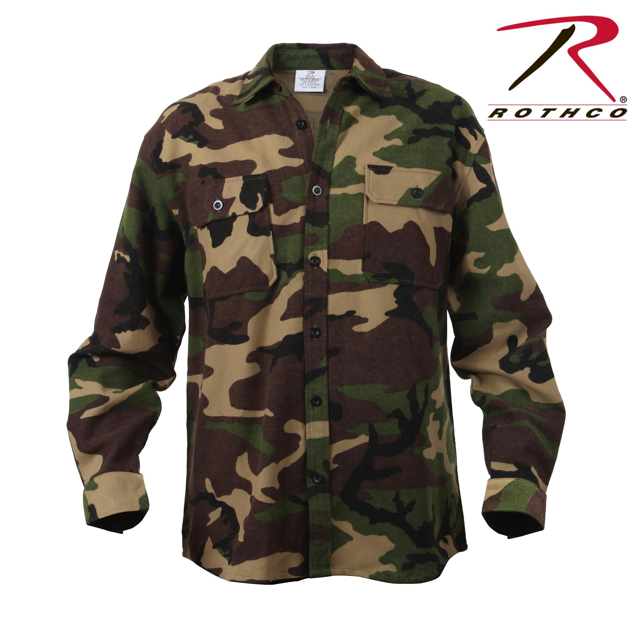 Rothco Extra Heavyweight Camo Flannel Shirts - M