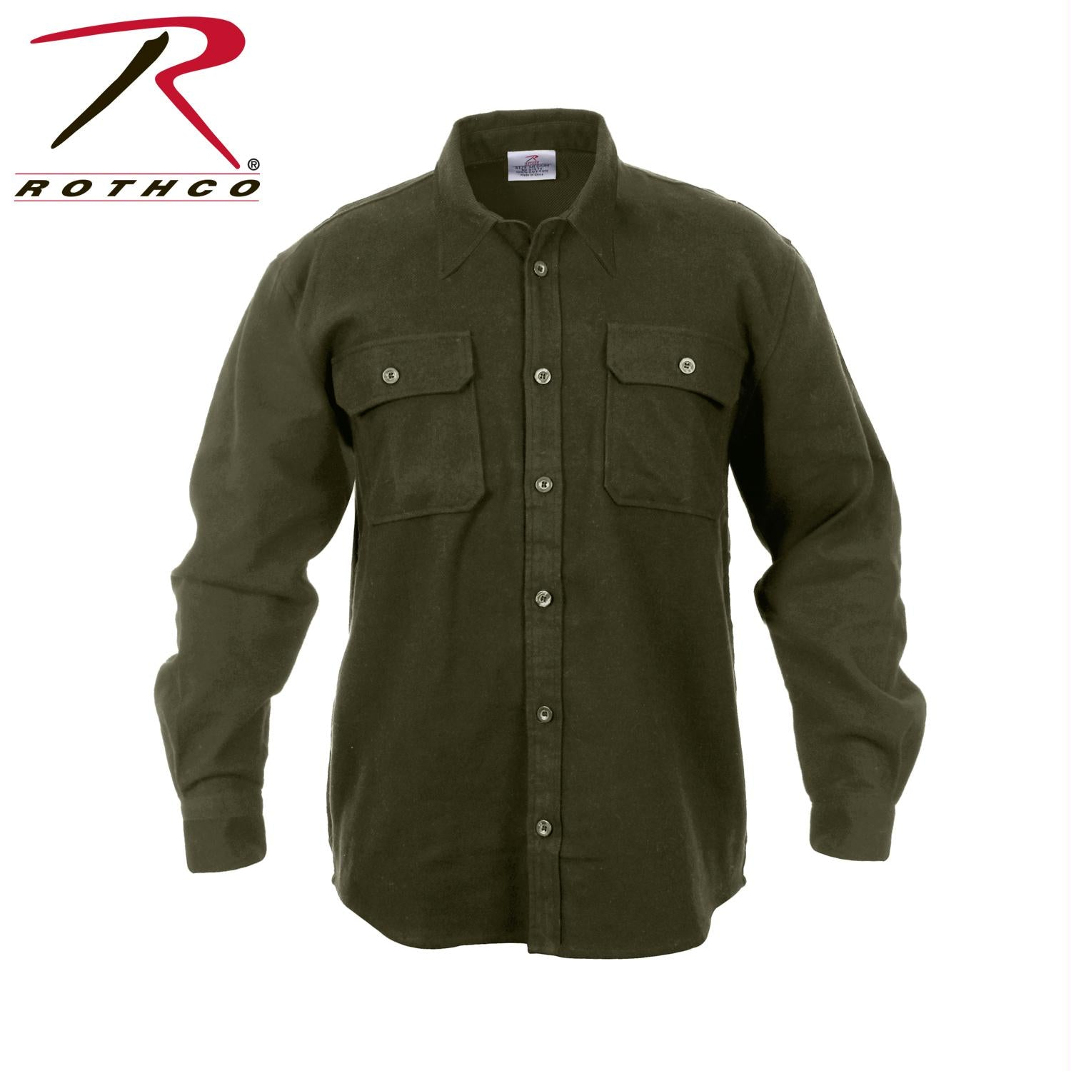 Rothco Heavy Weight Solid Flannel Shirt - Olive Drab / M