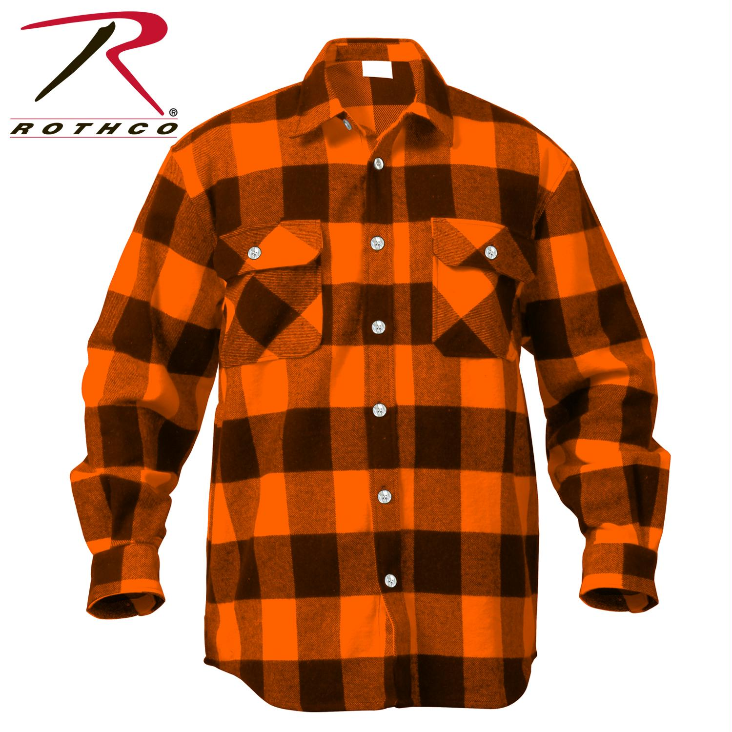 Rothco Extra Heavyweight Buffalo Plaid Flannel Shirts - Orange Plaid / S