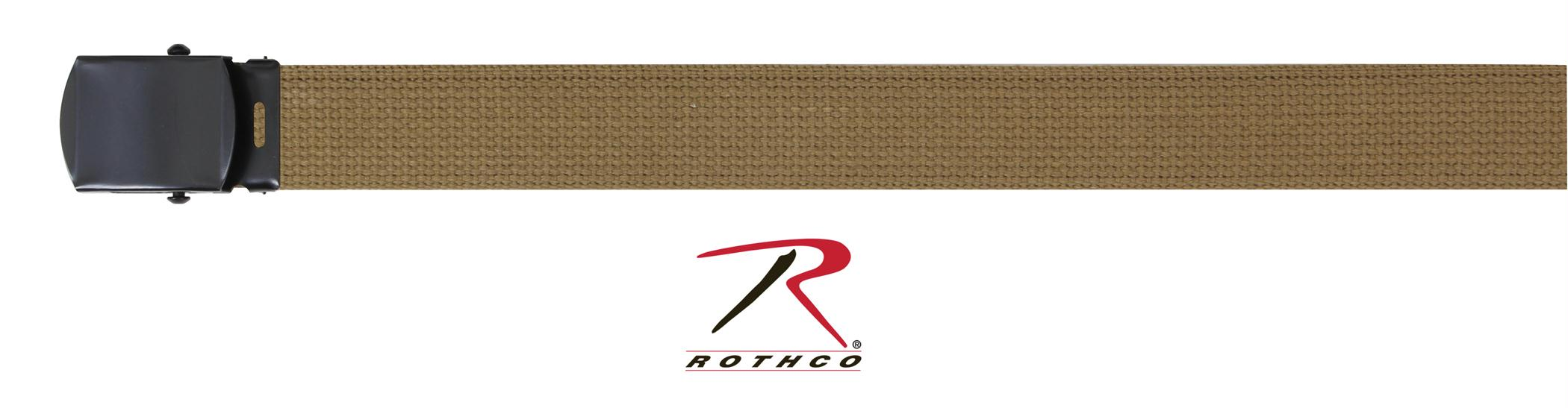 Rothco Military Web Belts w/ Black Buckle - Coyote Brown / 54 Inches