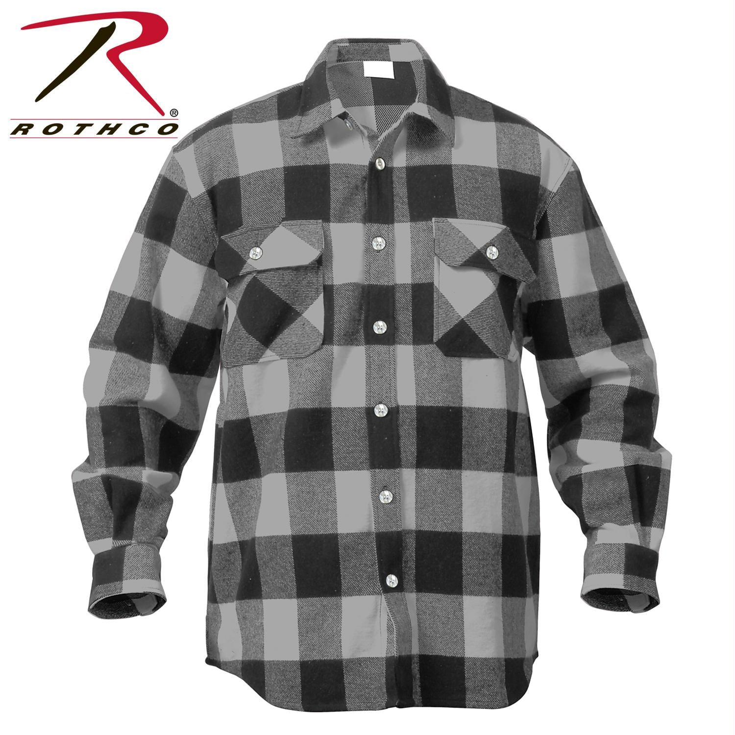 Rothco Extra Heavyweight Buffalo Plaid Flannel Shirts - Grey Plaid / S
