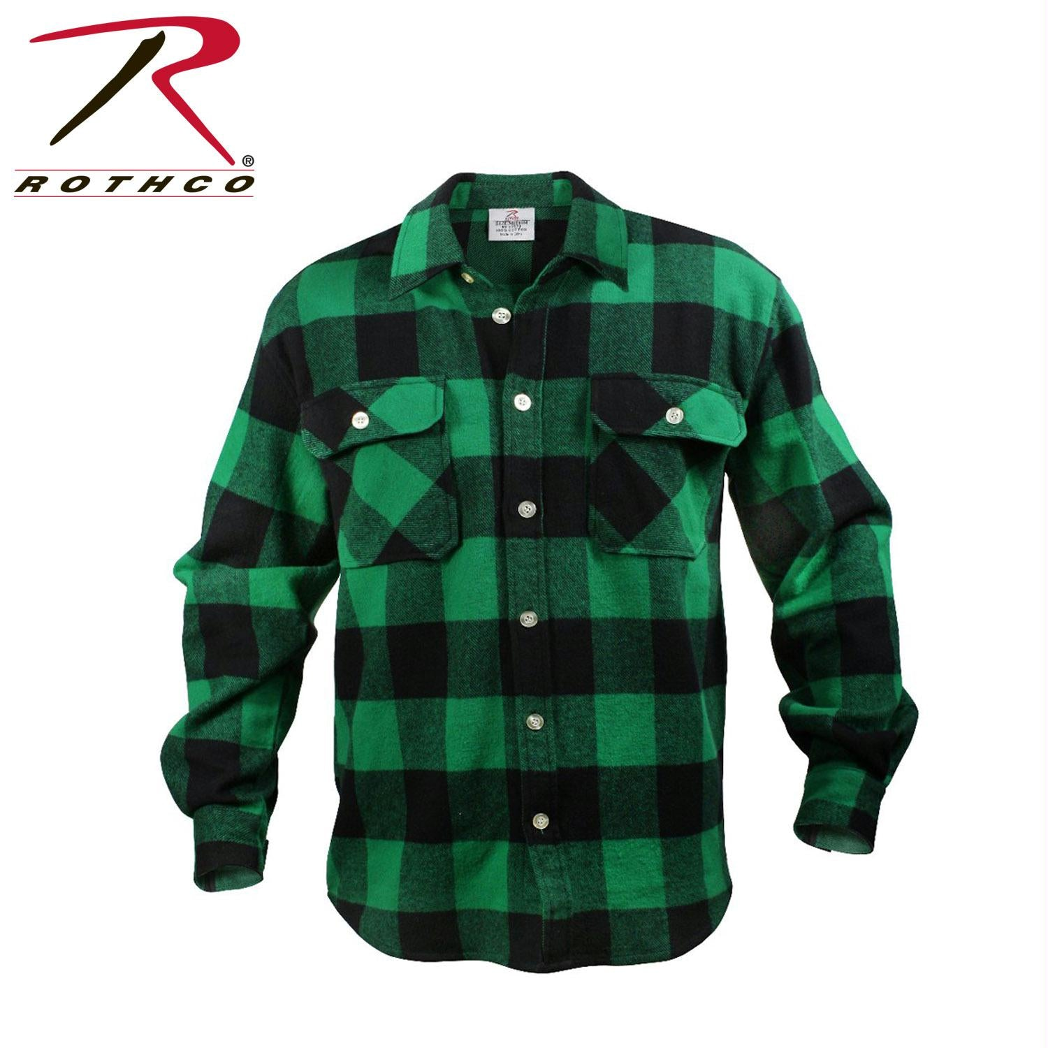 Rothco Extra Heavyweight Buffalo Plaid Flannel Shirts - Green Plaid / S