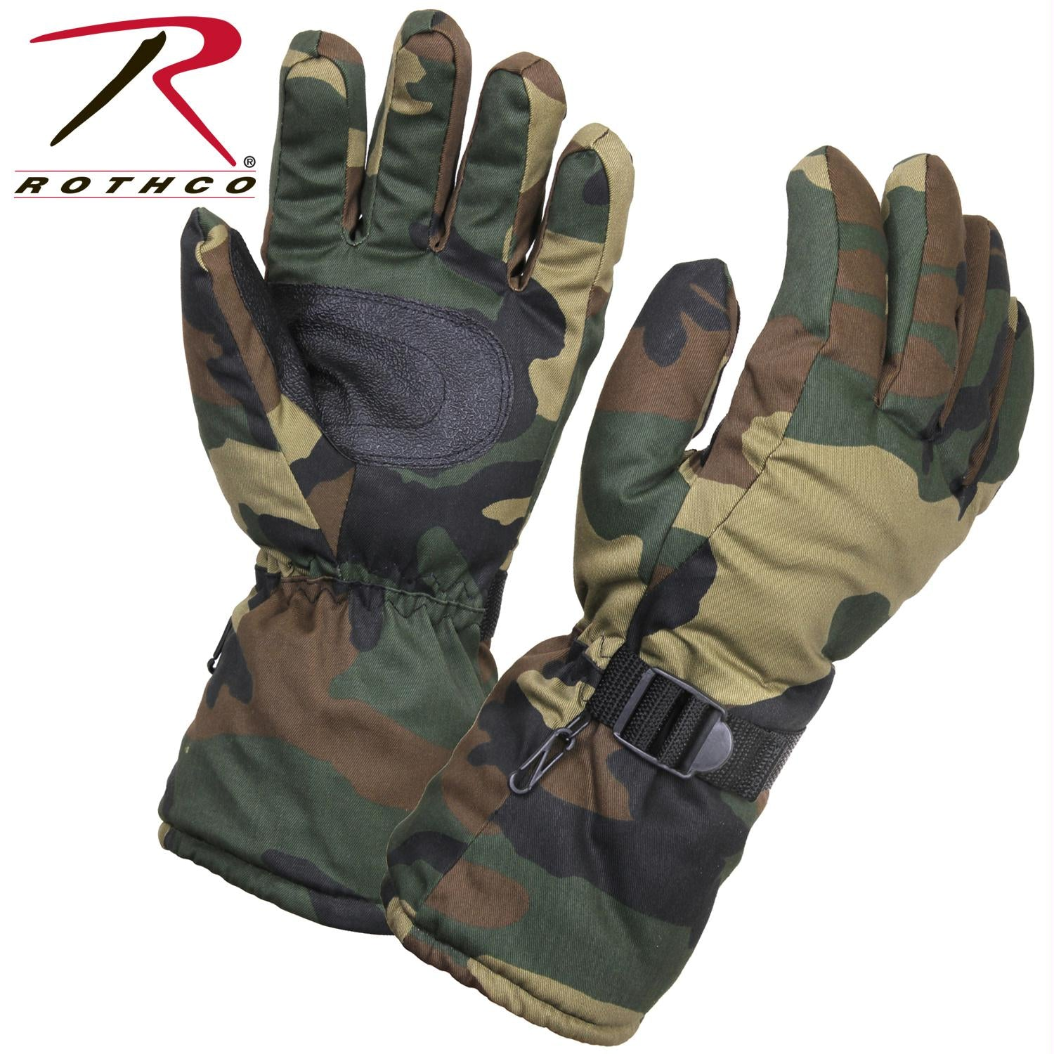 Rothco Extra-Long Insulated Gloves - Woodland Camo / XL