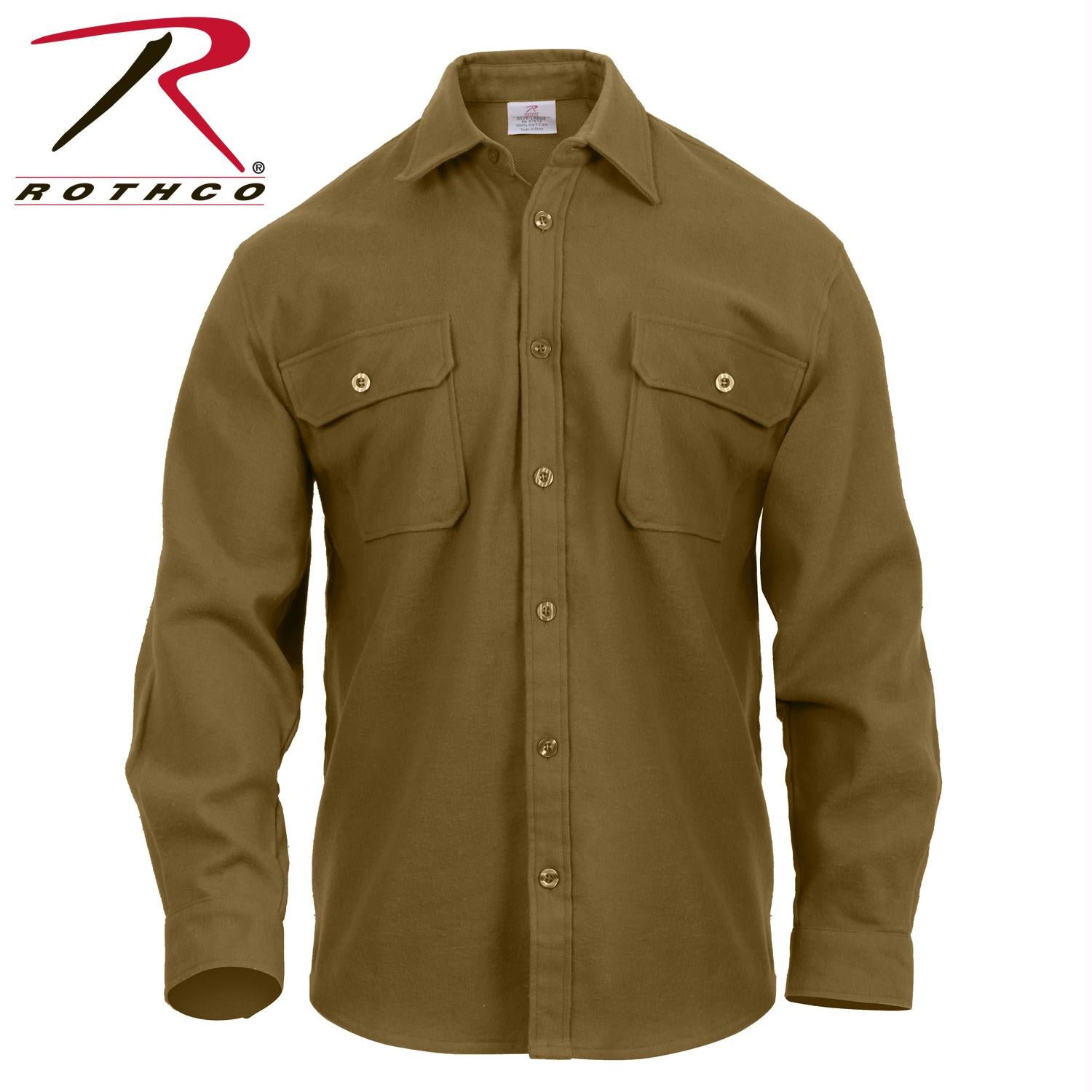 Rothco Heavy Weight Solid Flannel Shirt - Coyote Brown / M