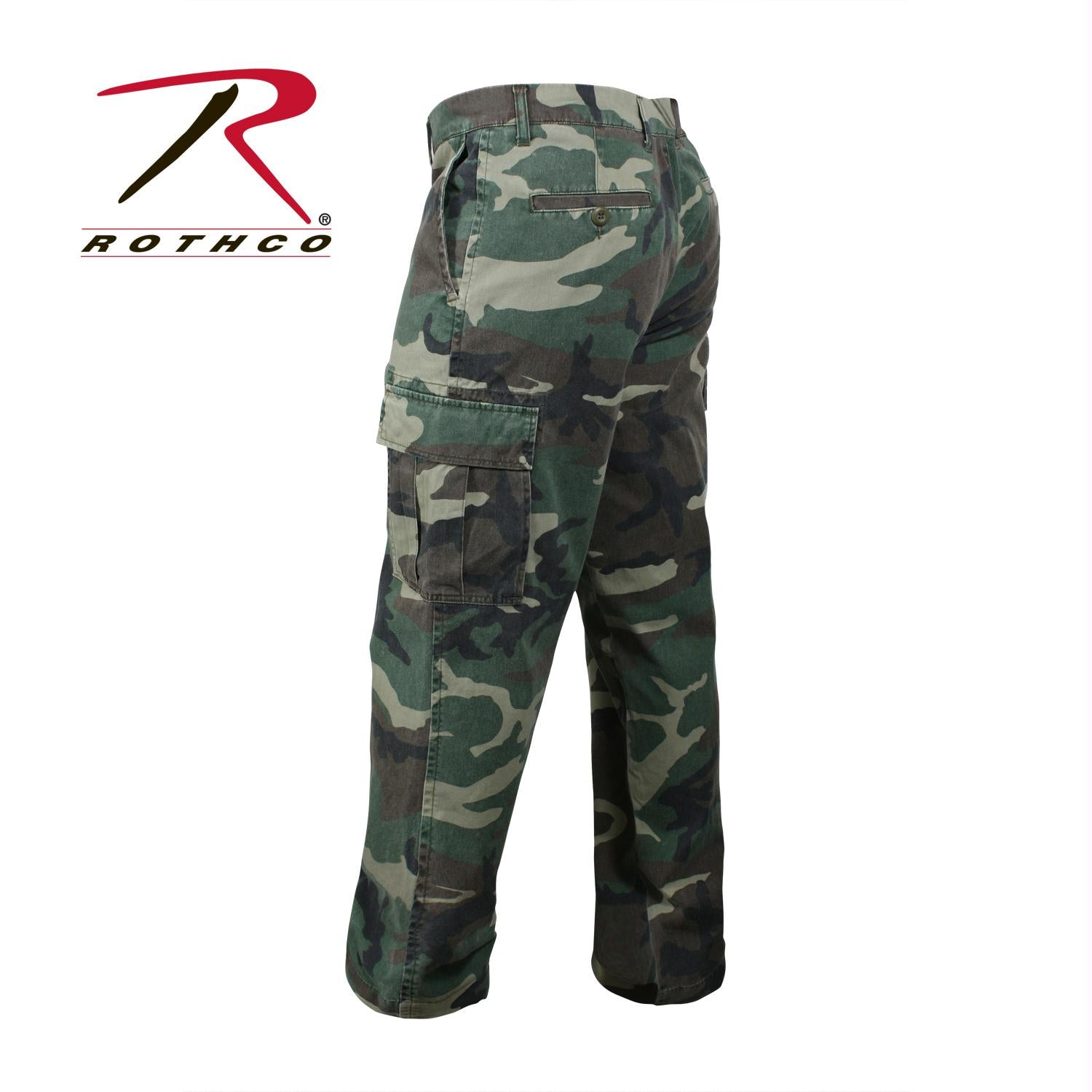 Rothco Vintage 6-Pocket Flat Front Fatigue Pants - Woodland Camo / 36