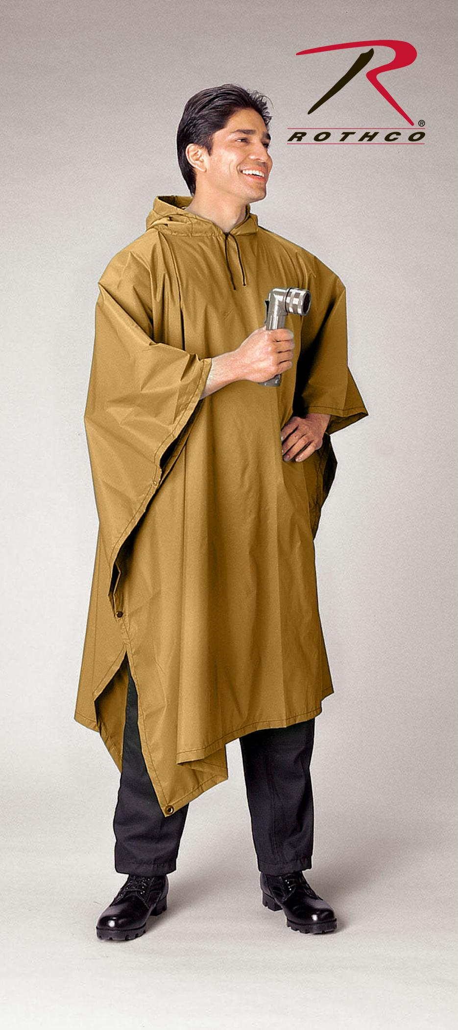 Rothco G.I. Type Military Rip-Stop Poncho - Coyote Brown
