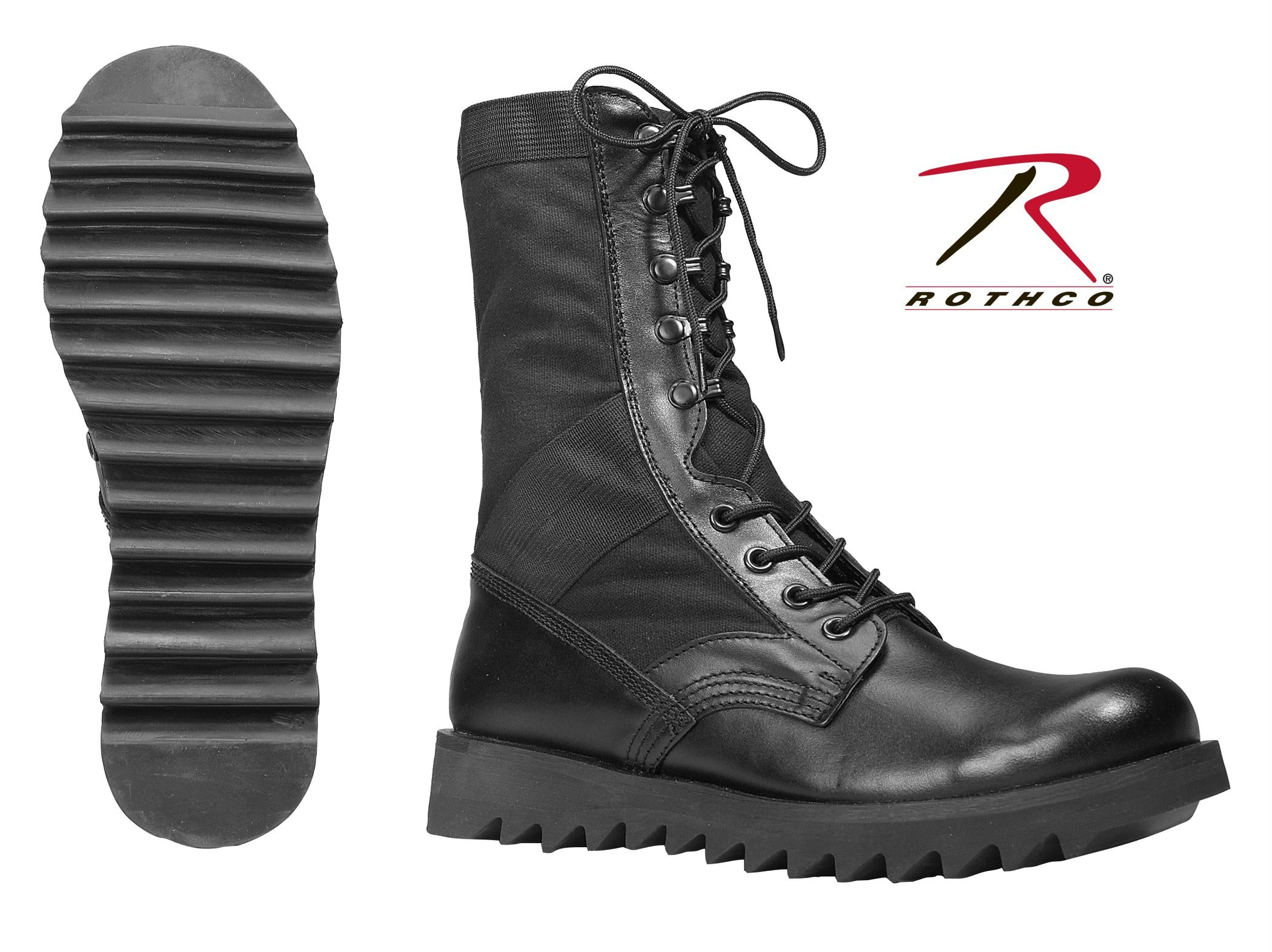 Rothco Black Ripple Sole Jungle Boots - 7 / Wide