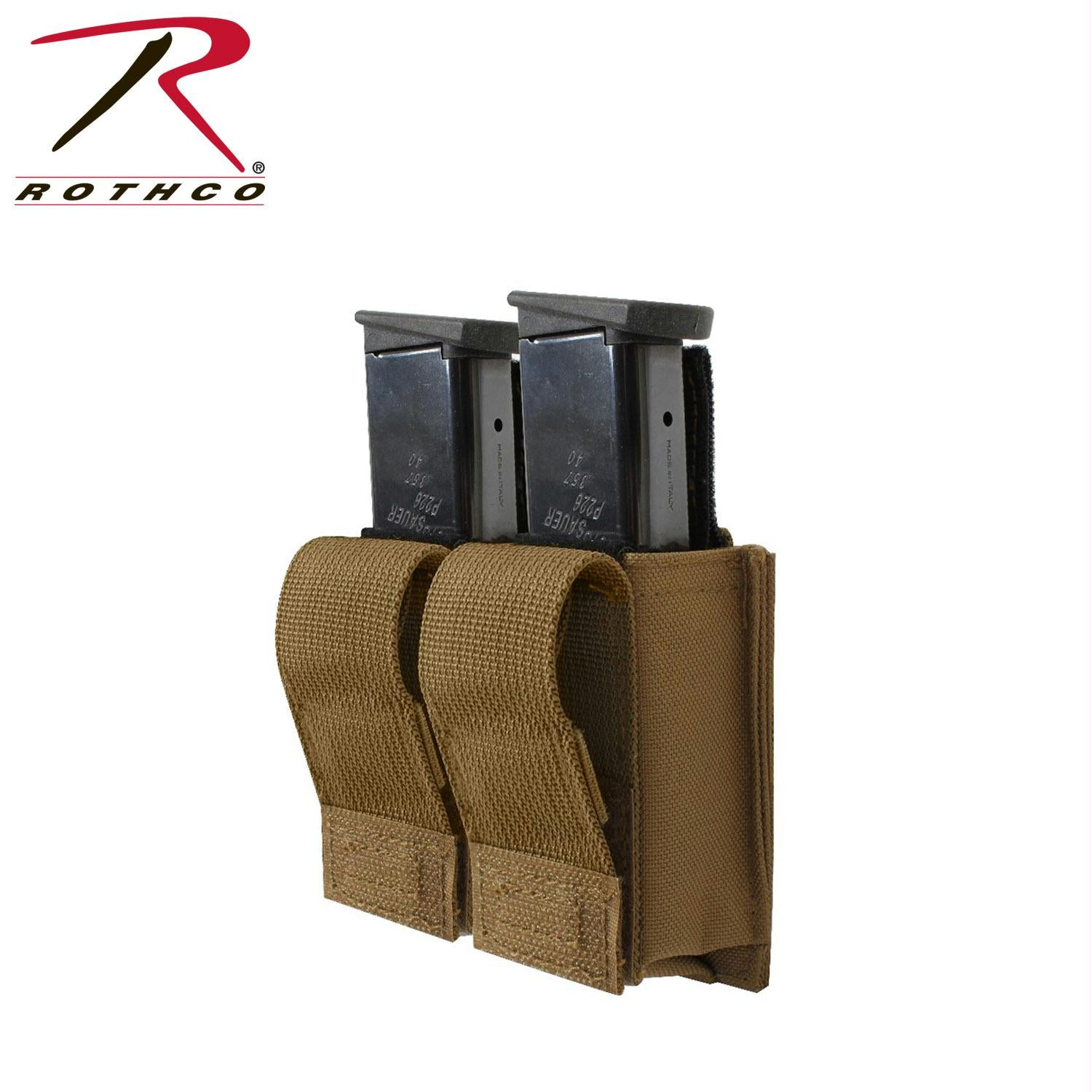 Rothco Molle Double Pistol Mag Pouch With Insert - Coyote Brown
