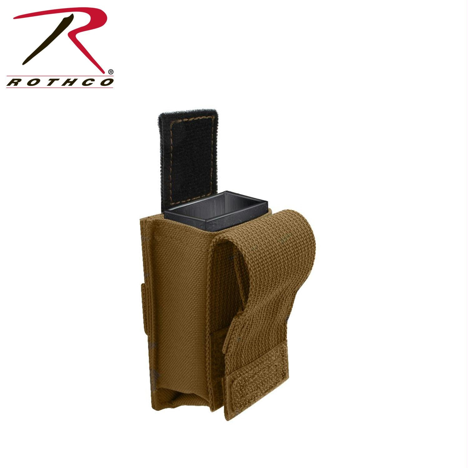 Rothco Single Pistol Mag Pouch With Insert - Molle - Coyote Brown