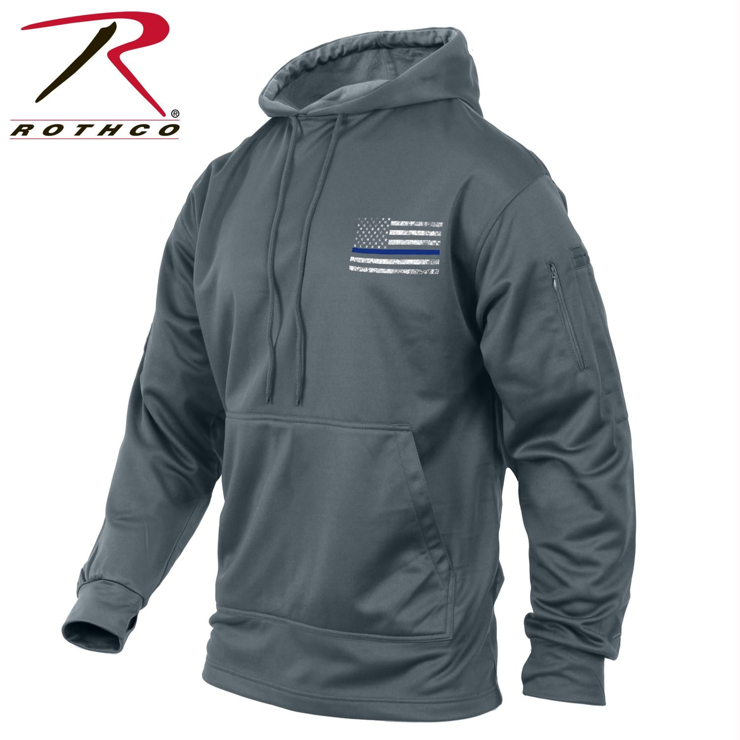Rothco Thin Blue Line Concealed Carry Hoodie - Grey / 2XL