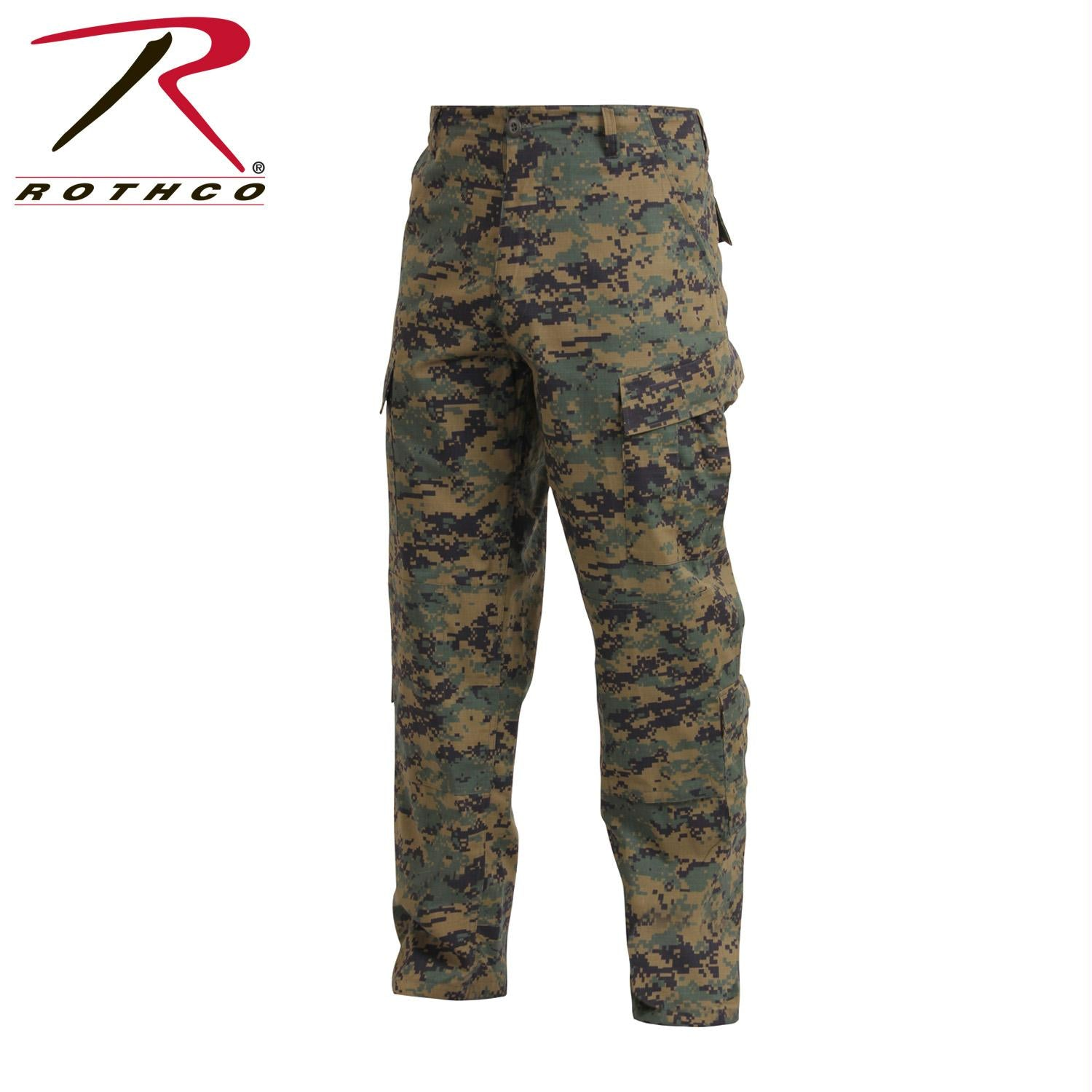 Tactical ACU Pants Rip-Stop Army Combat Uniform Fatigues - Woodland Digital Camo / L