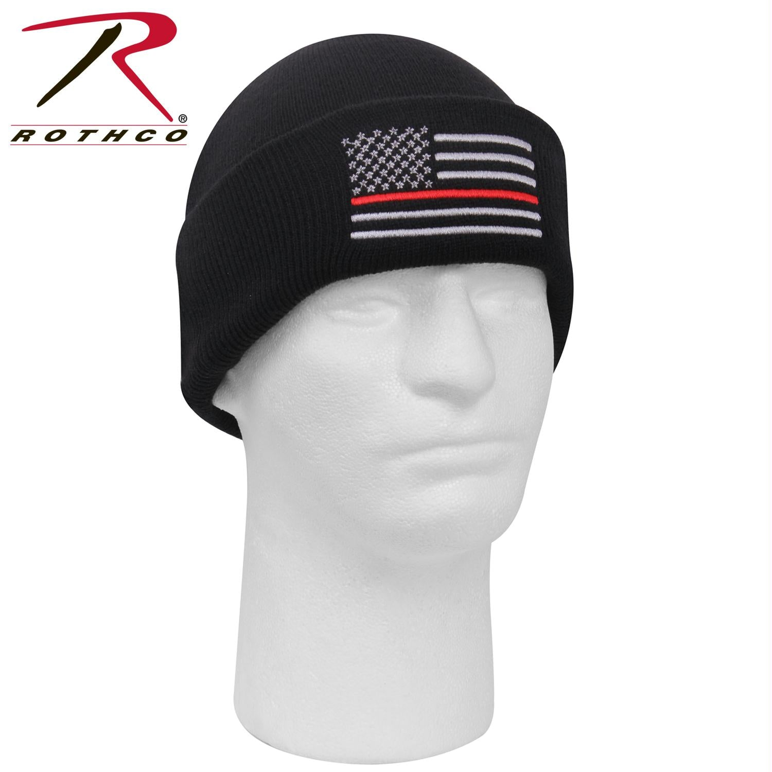 Rothco Deluxe Thin Red Line Watch Cap - Black / One Size
