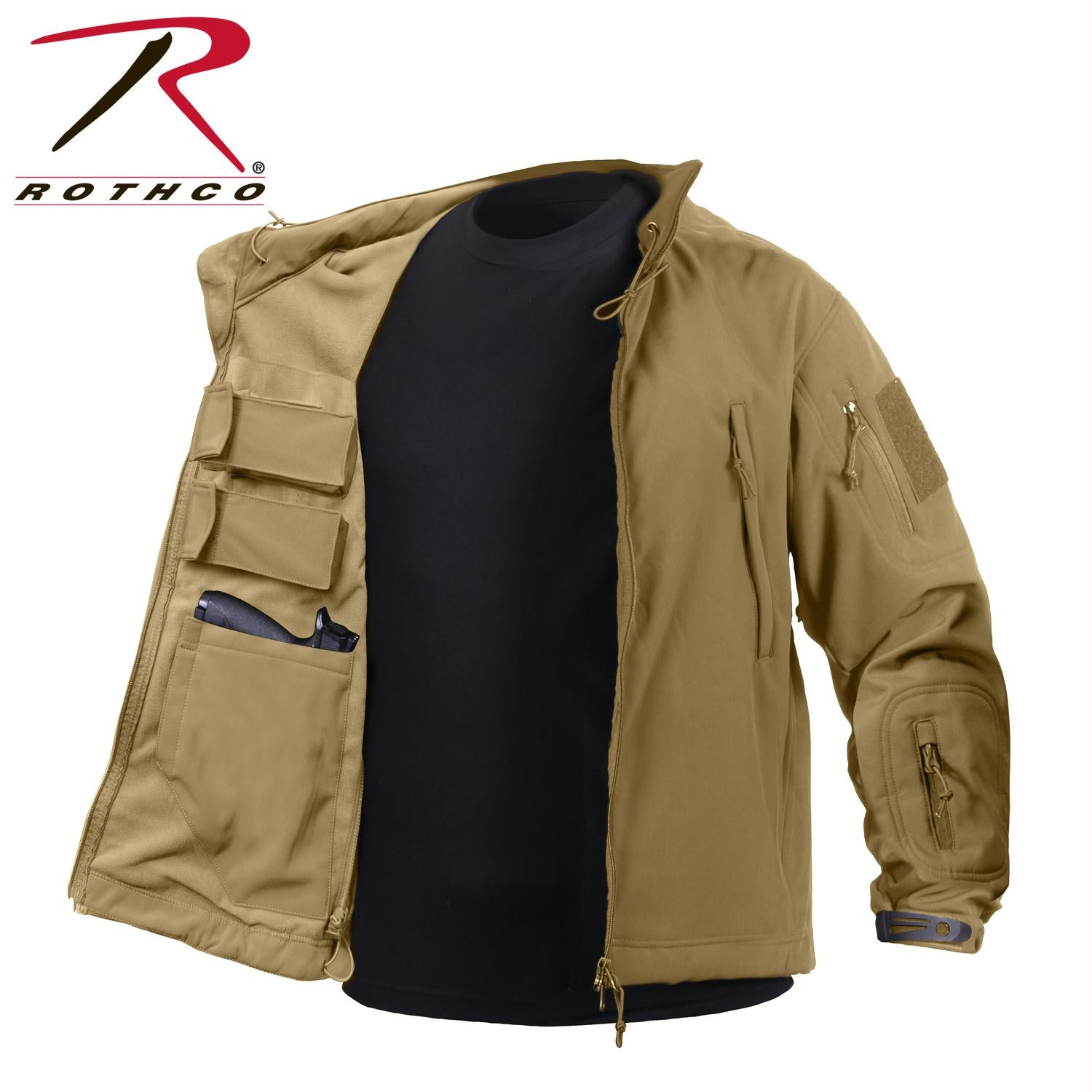 Rothco Concealed Carry Soft Shell Jacket - Coyote Brown / L
