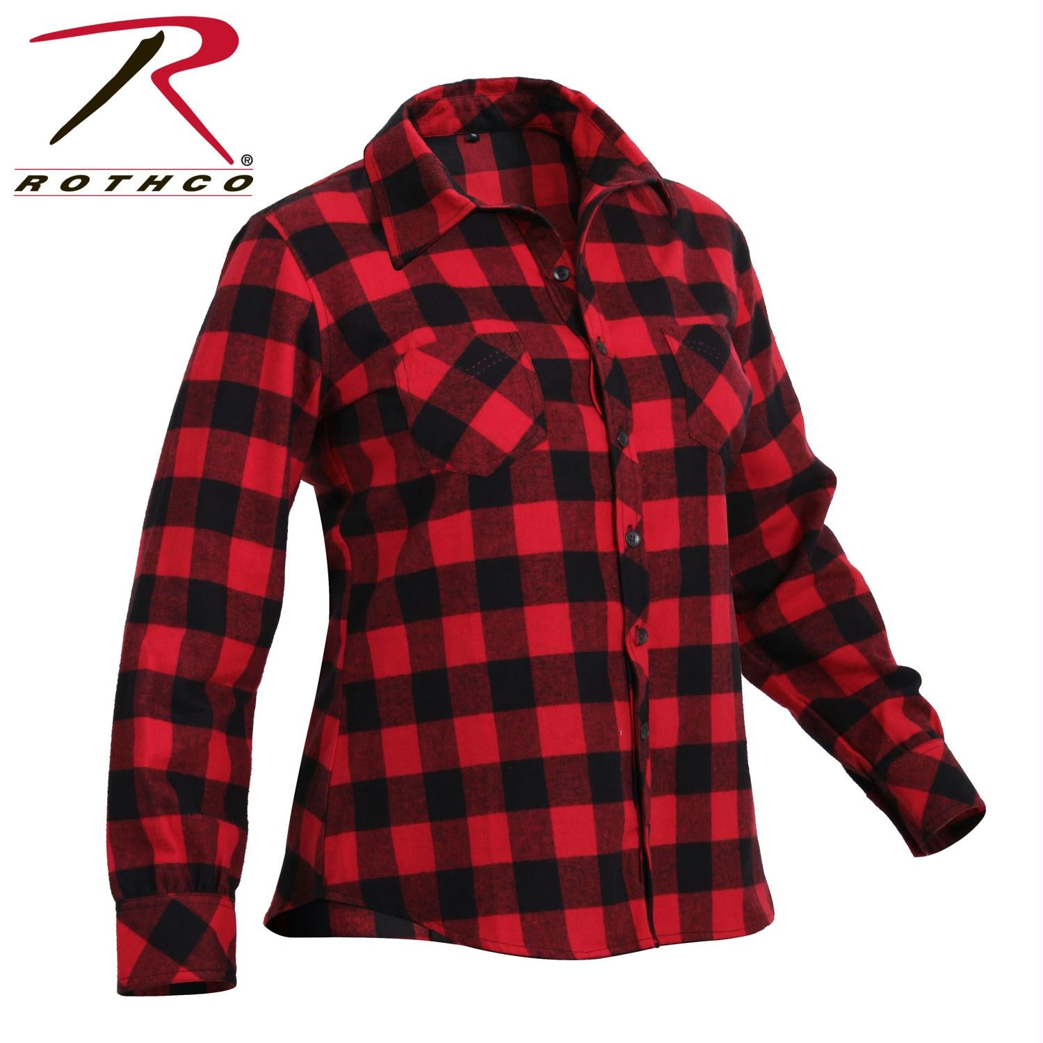 Rothco Womens Plaid Flannel Shirt - Red / Black / XL