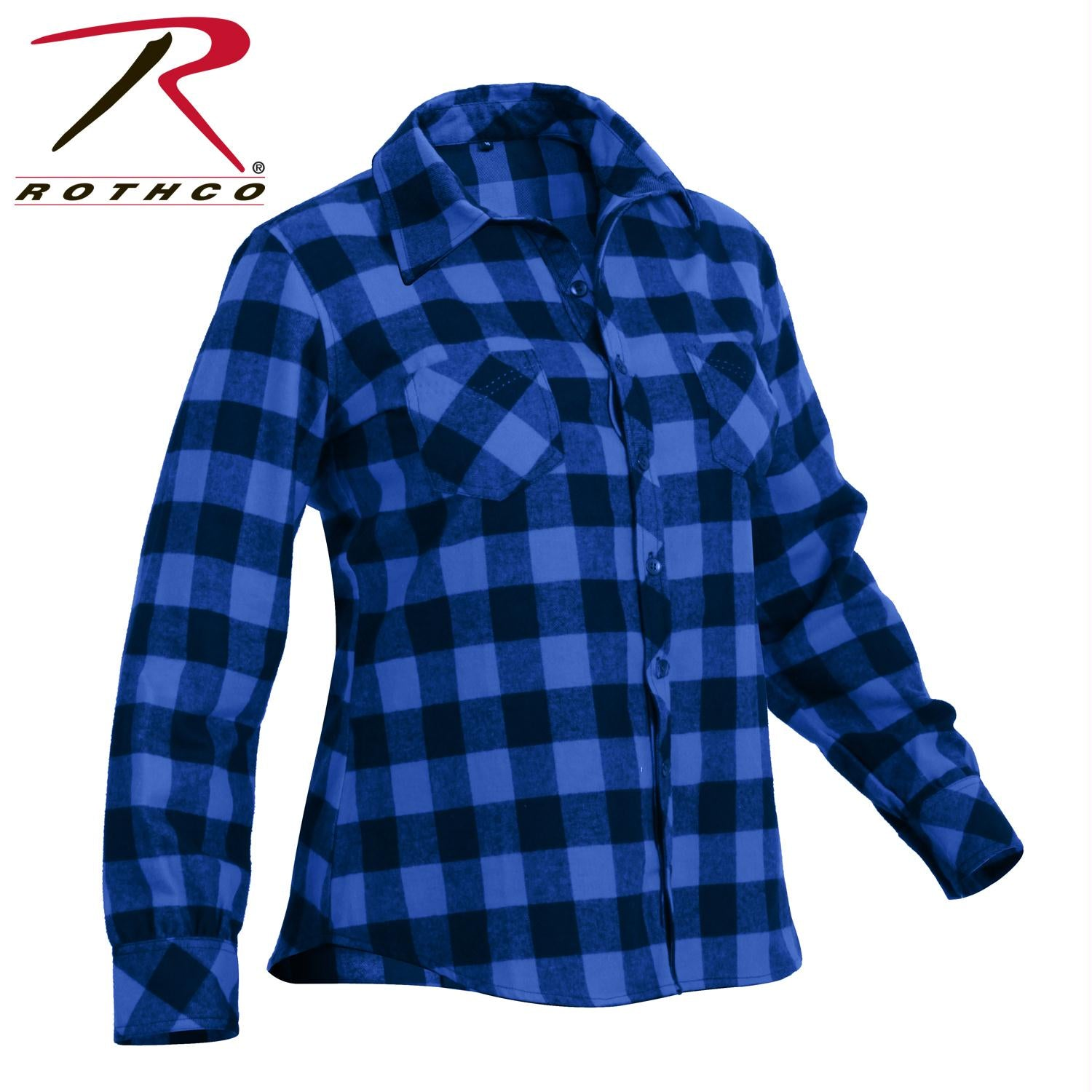 Rothco Womens Plaid Flannel Shirt - Blue / Black / XL
