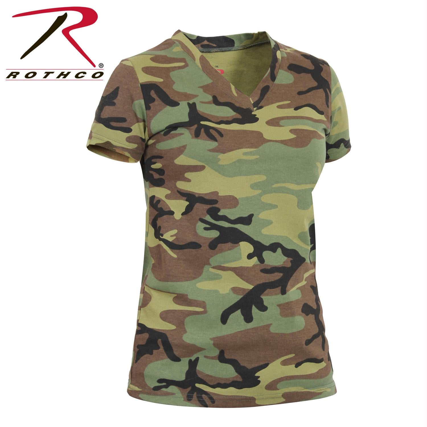 Rothco Womens Long Length Camo V-Neck T-Shirt - Woodland Camo / S