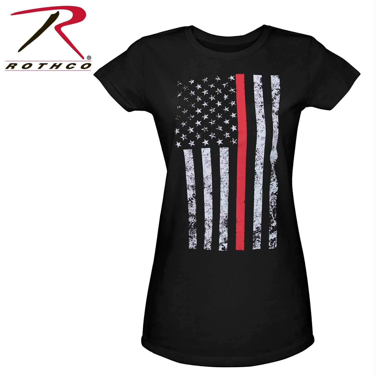 Rothco Womens Thin Red Line Longer T-Shirt - Black / XS